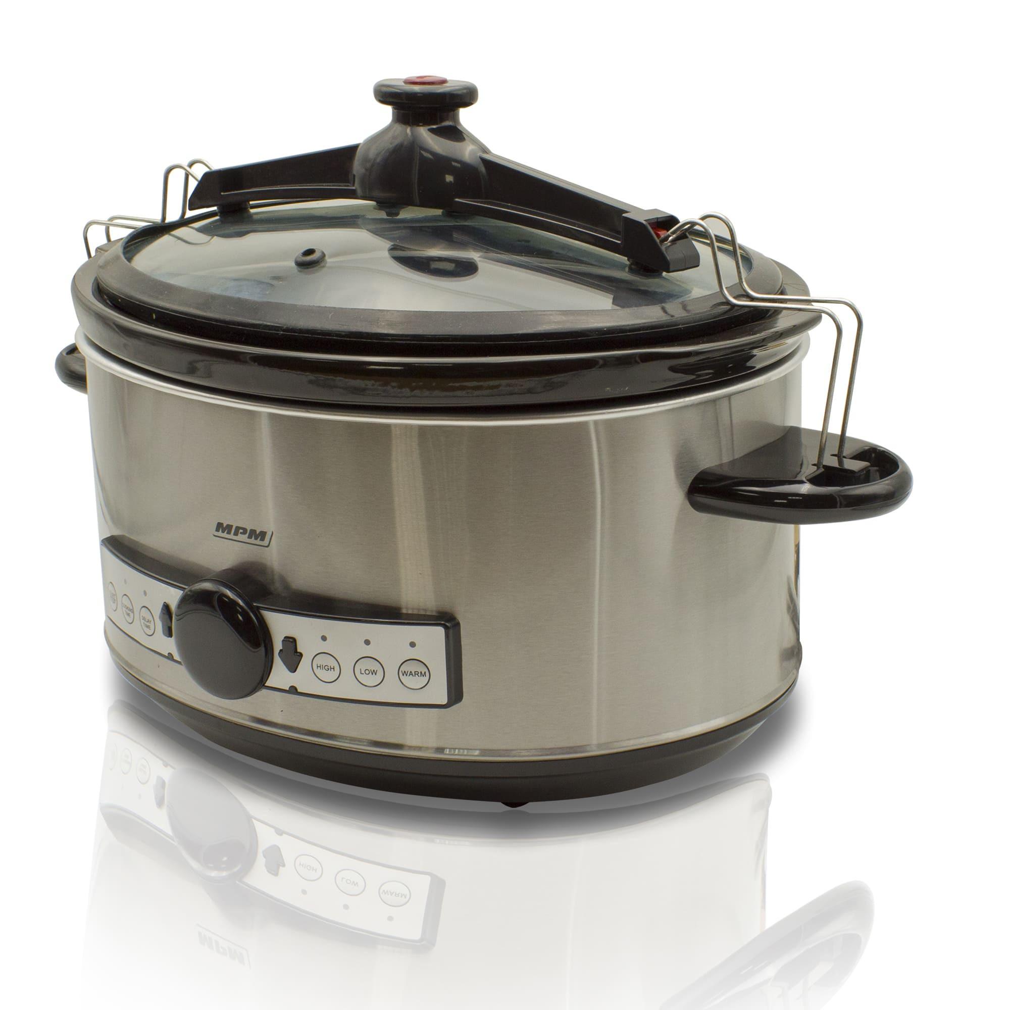 MPM MWO-01M Olla cocción lenta programable 6,5 litros, cubeta cerámica ovalada libre PFOA y PTFE, 3 niveles temperatura, tapa cristal, Slow Cooker acero inoxidable