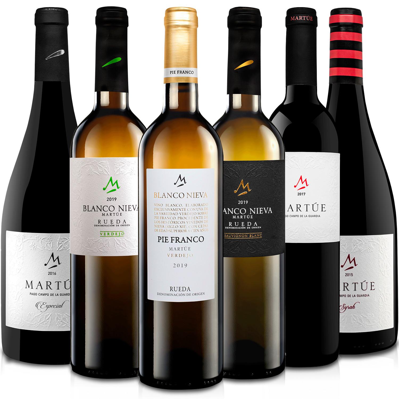 Martúe Lote Degustación Vino Blanco Nieva y Tinto D.O. Rueda, Pago Campo de la Guardia, 2 x Verdejo, 1 x Chardonnay, 2 x Tinto Reserva, 1 x Tinto Crianza, Pack 6 botellas