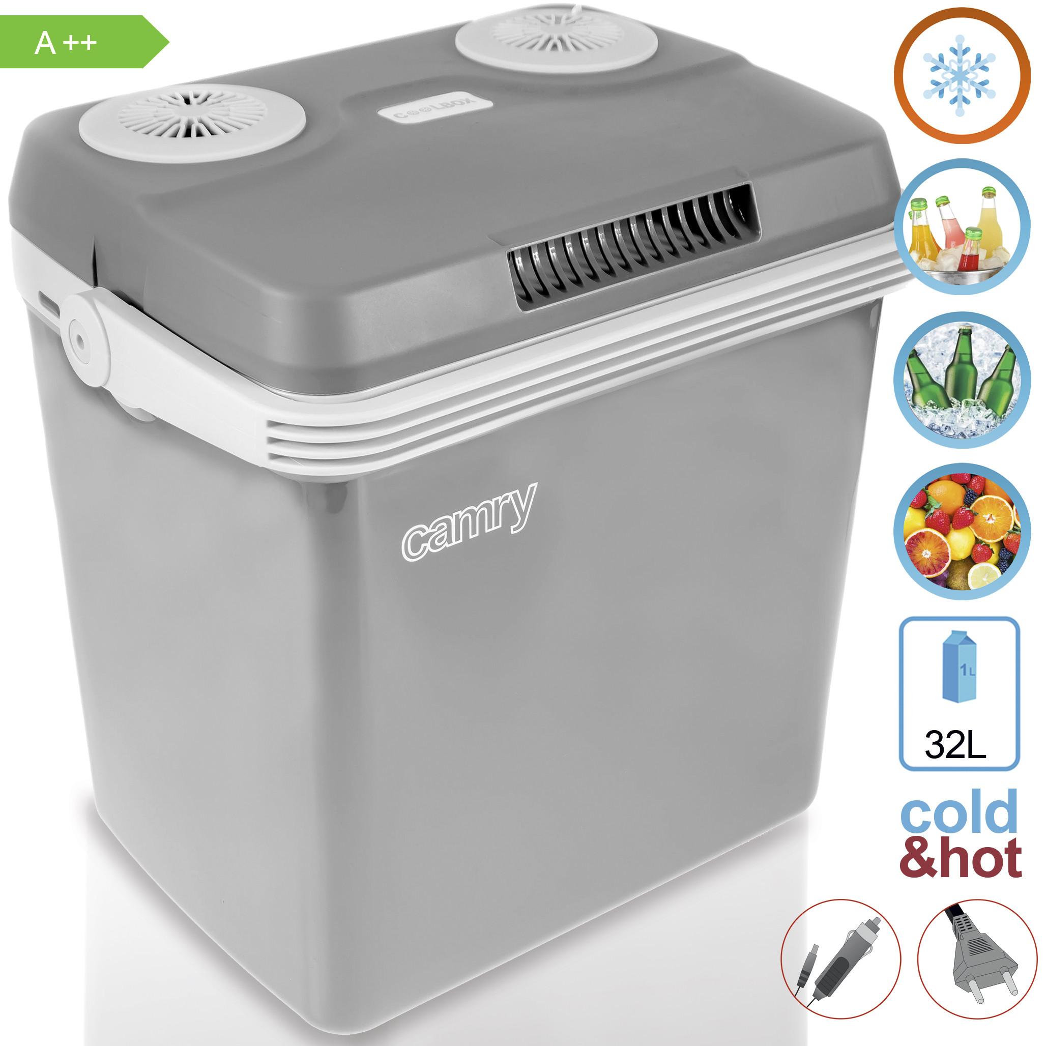 Camry CR 93 - Nevera portátil eléctrica de viaje para coche, camping, 12V/230V, capacidad 32 Litros, A++