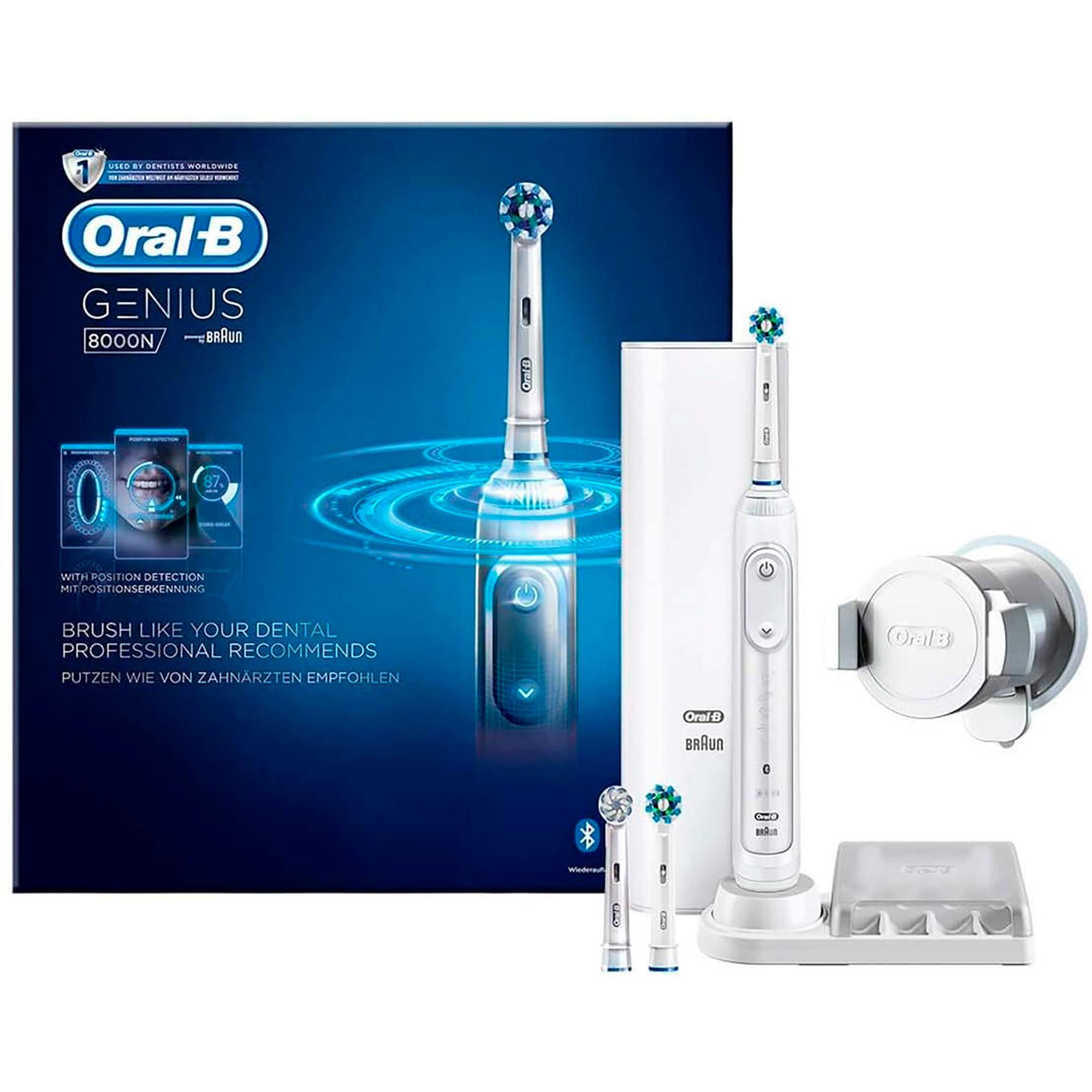 ORAL-B Genius Pro 8000 Cepillo de Dientes Eléctrico, Sensor Presión, Encías Sensibles, Conexión Bluetooth con Smartphone, Batería Recargable, 3 Cabezales, Estuche de Viaje Cargador, Blanco