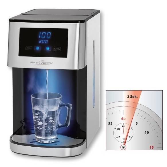 Proficook HWS 1145 - Hervidor Dispensador de agua caliente, 3 segundos en calentar, capacidad 4 litros, cantidad regulable