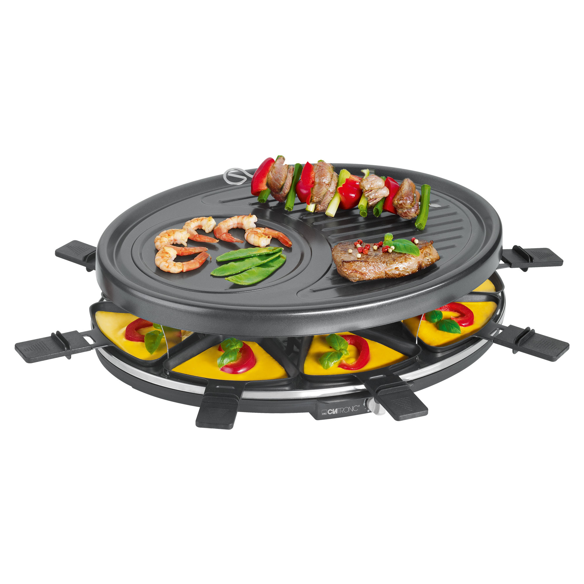 Clatronic RG 3517 - Raclette grill para 8 personas, 1400 W, color negro