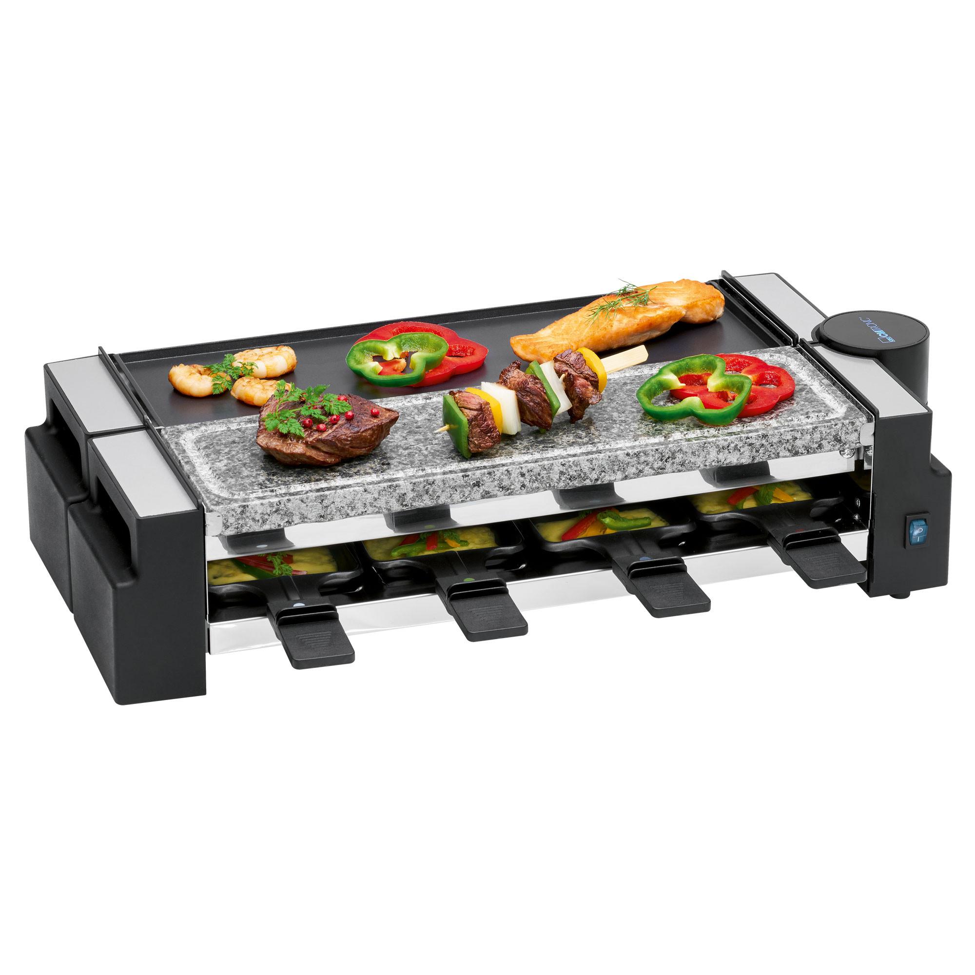 Clatronic RG 3678 - Raclette Grill con piedra natural y placa reversible, 8 personas, 1200W