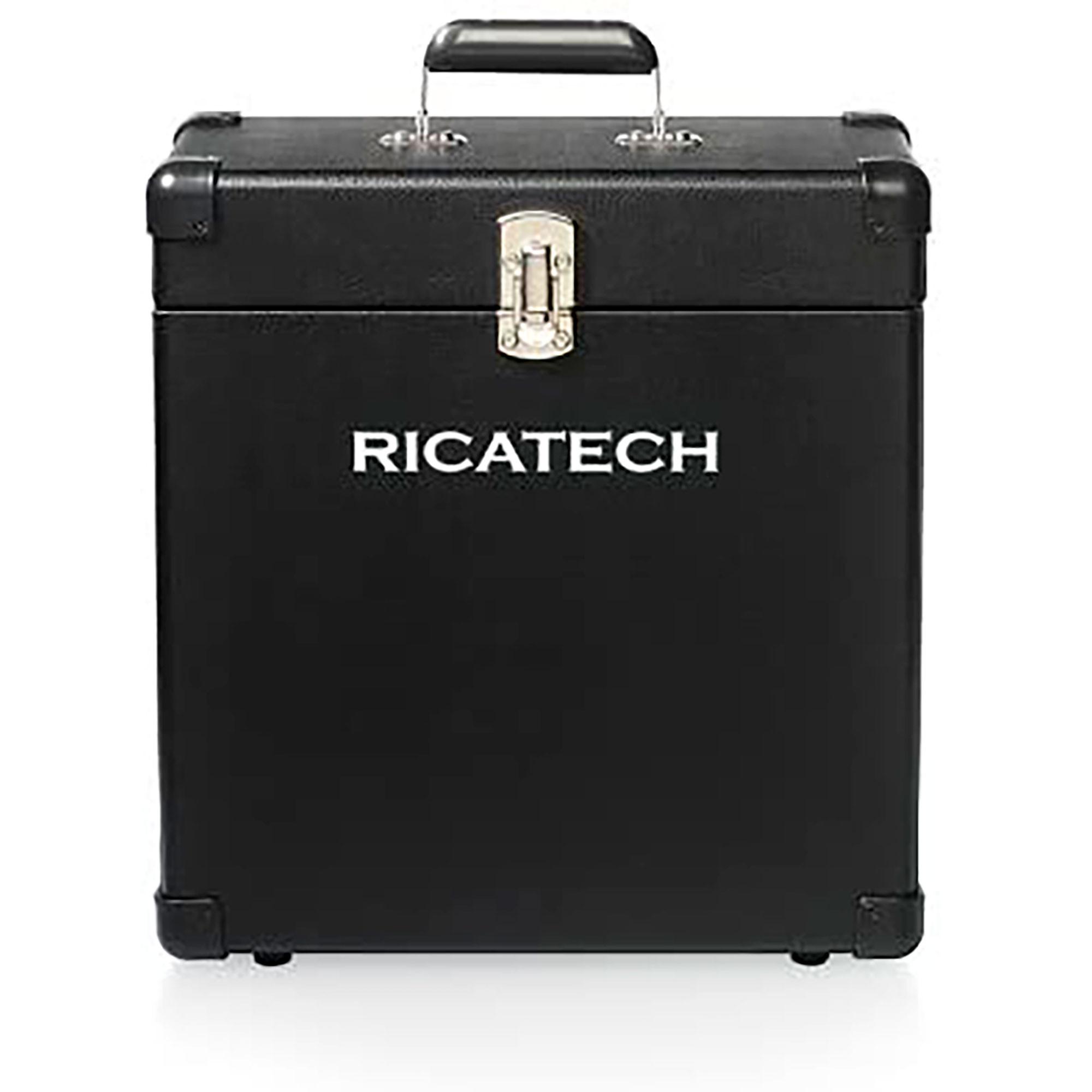 Ricatech RC0042N Maleta Discos Vinilo, Almacenar hasta 30LPs y Singles, Portátil, Negra