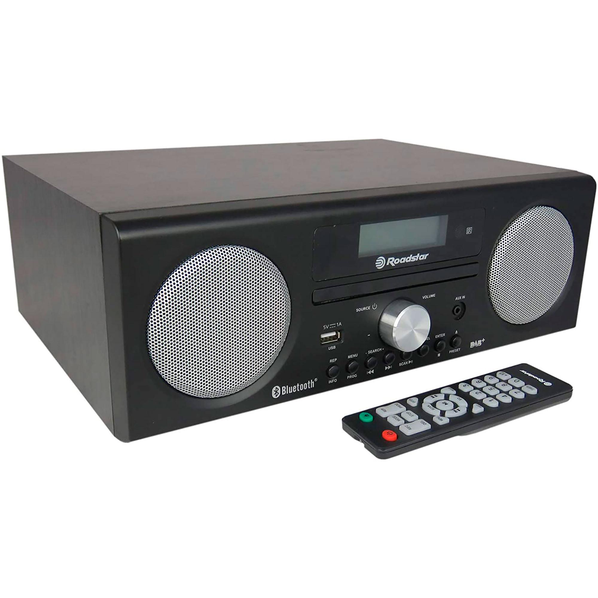 Roadstar HRA9DBT-BK Radio Portátil DAB/DAB+/FM, Reproductor CD-MP3, Bluetooth, USB, AUX-IN, Grabador, Pantalla LCD, Mando a Distancia, Negro