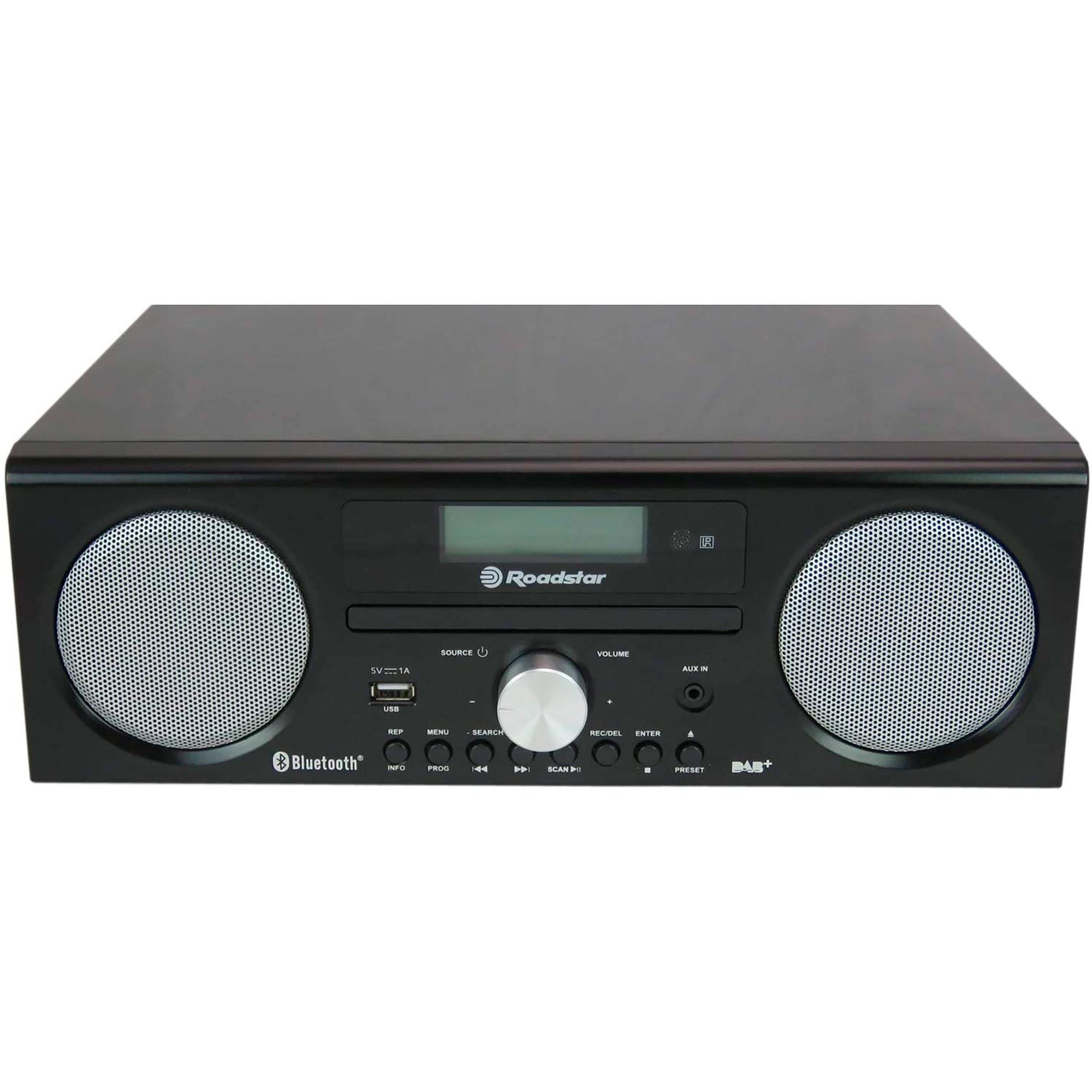 Roadstar HRA9DBT-BKL Radio Portátil DAB/DAB+/FM, Reproductor CD-MP3, Bluetooth, USB, AUX-IN, Grabador, Pantalla LCD, Mando a Distancia, Negro