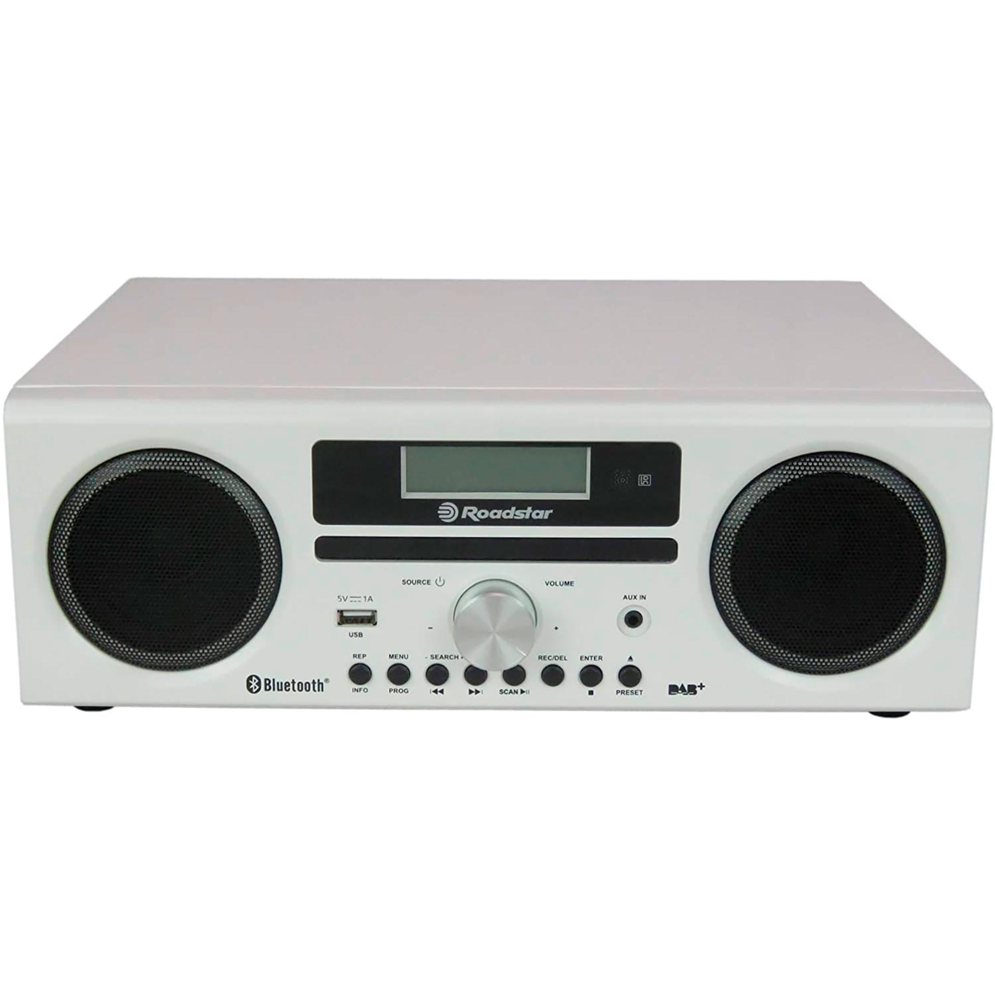 Roadstar HRA9DBT-WHL Radio Portátil DAB/DAB+/FM, Reproductor CD-MP3, Bluetooth, USB, AUX-IN, Grabador, Pantalla LCD, Mando a Distancia, Blanco