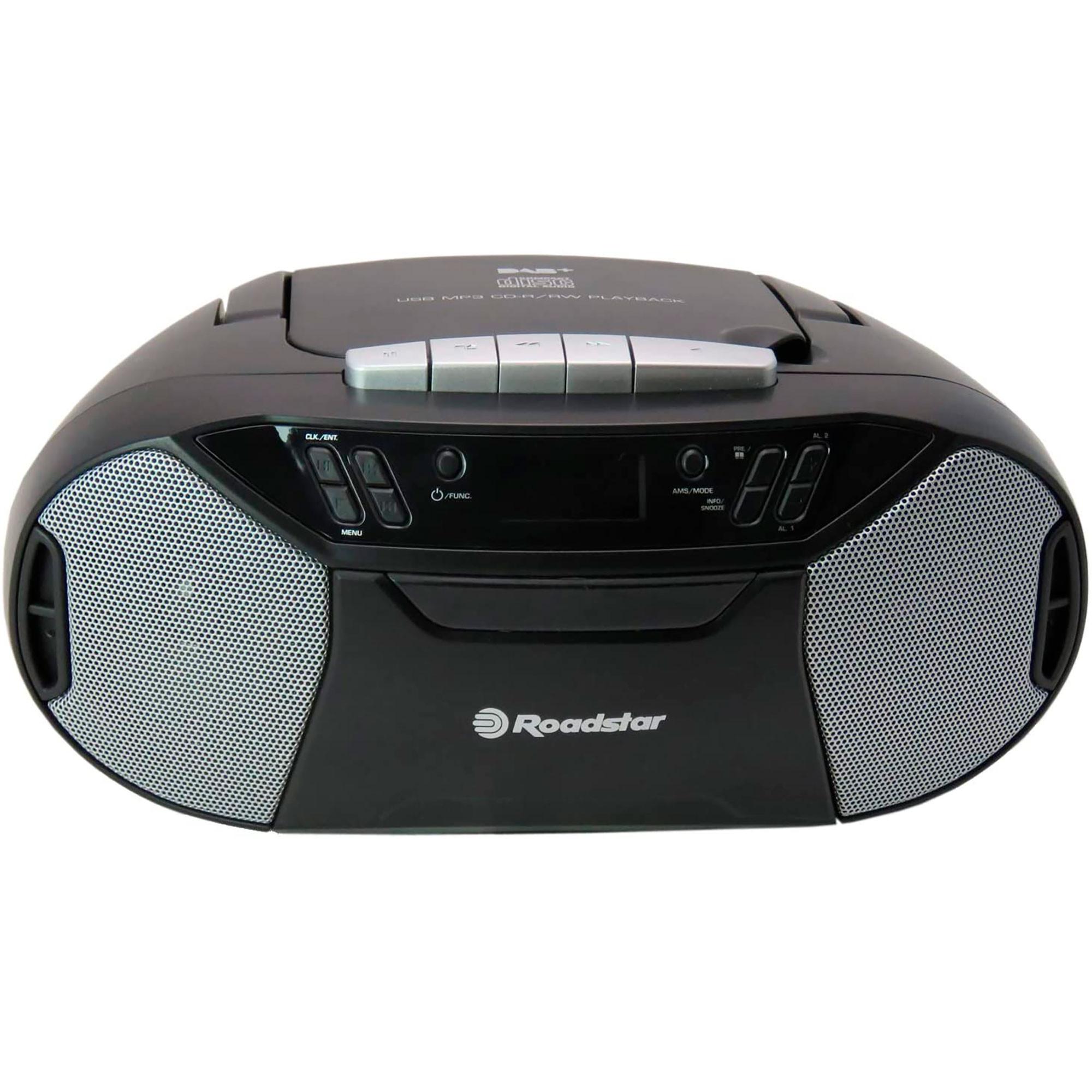 Roadstar RCR777UD Radio Portátil DAB/DAB +/FM, Reproductor CD-MP3, Cassette, USB, AUX-IN, Salida de Auriculares, Negro