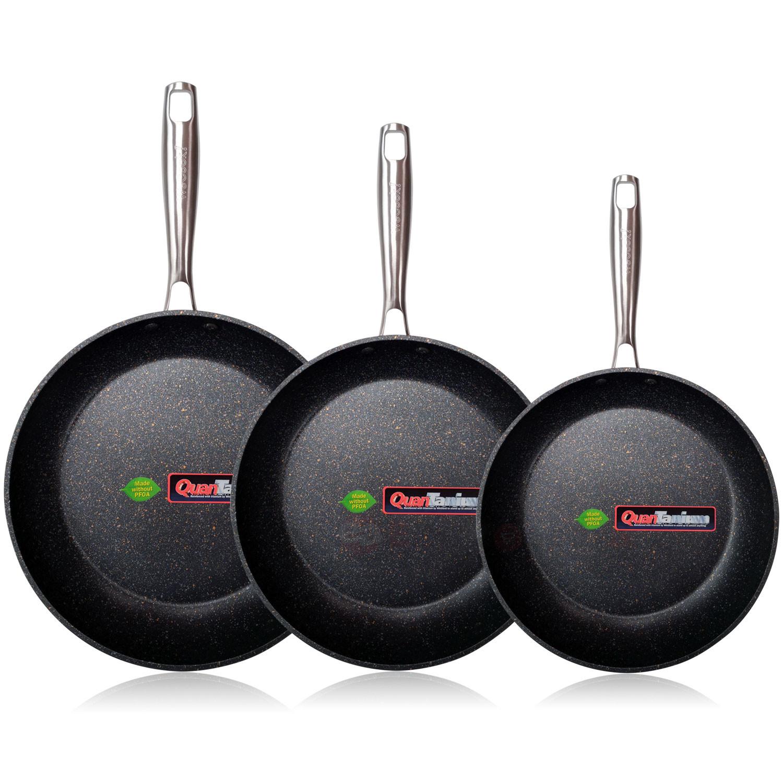 Wecook EcoChef Titanio Set Juego 3 Sartenes 18-20-24 cm Aluminio Forjado, inducción, 5 Capas Antiadherente sin PFOA, Limpieza lavavajillas Apta para Todas Las cocinas, vitroceramica, Gas