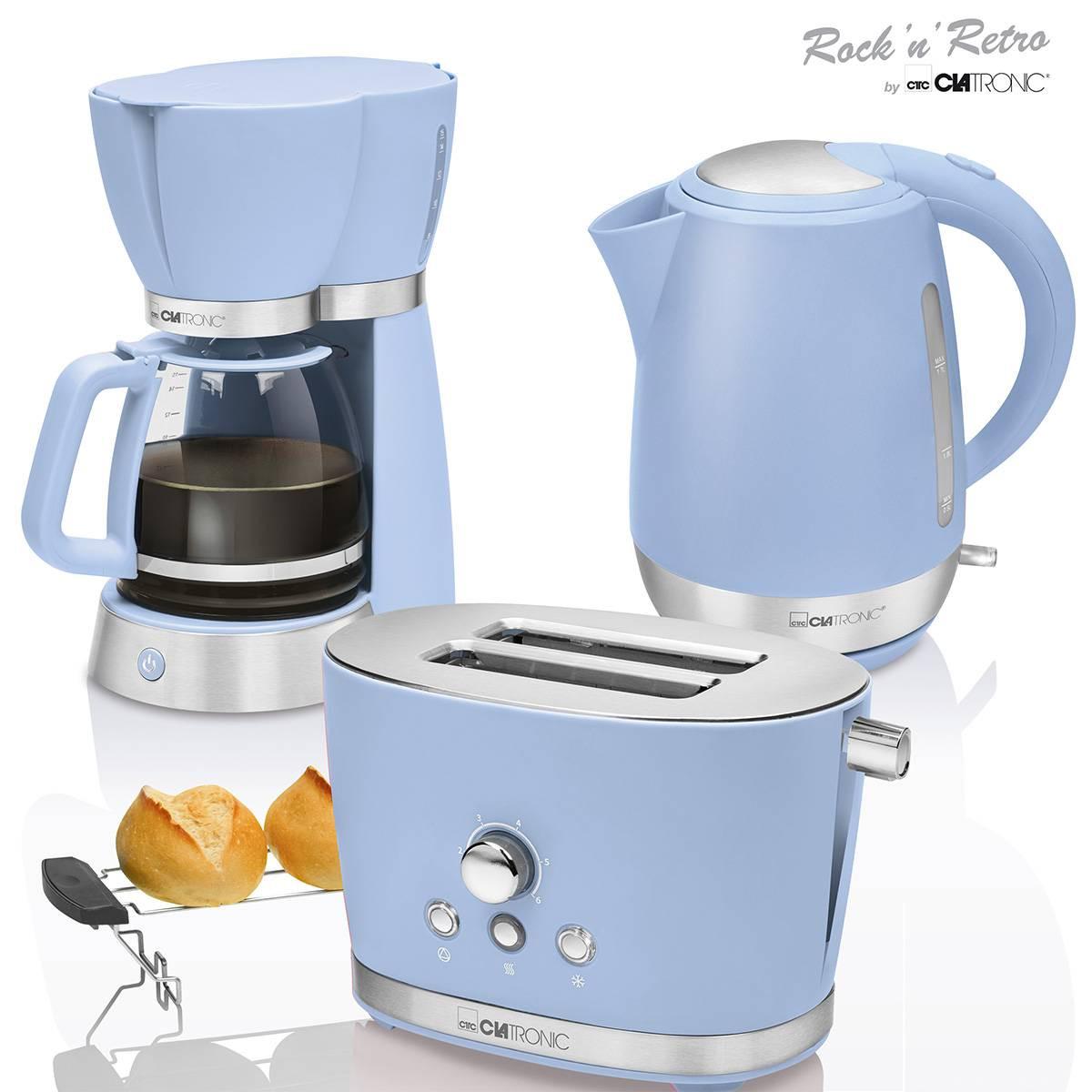 Clatronic Vintage - Set Desayuno, Cafetera 15 tazas, Tostadora 2 rebanadas, Hervidor de agua 1,7 litros, azul pastel, series Rock & Retro