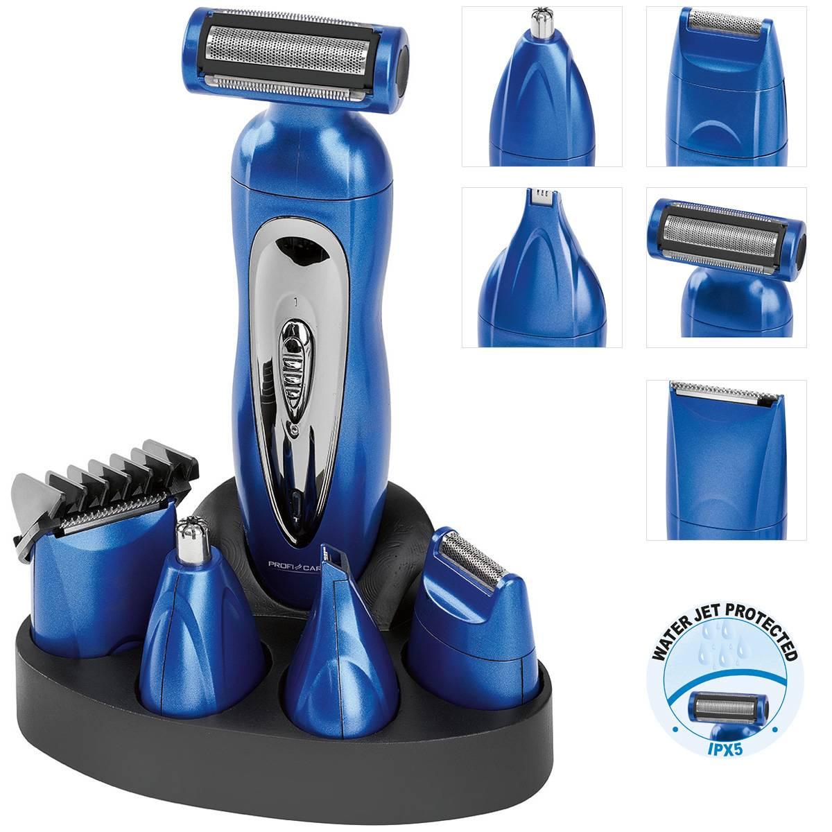 Proficare BHT 3015 - Set de Cortapelo, afeitadora corporal, recortador de precisión, cortador oido nariz, batería recargable, azul