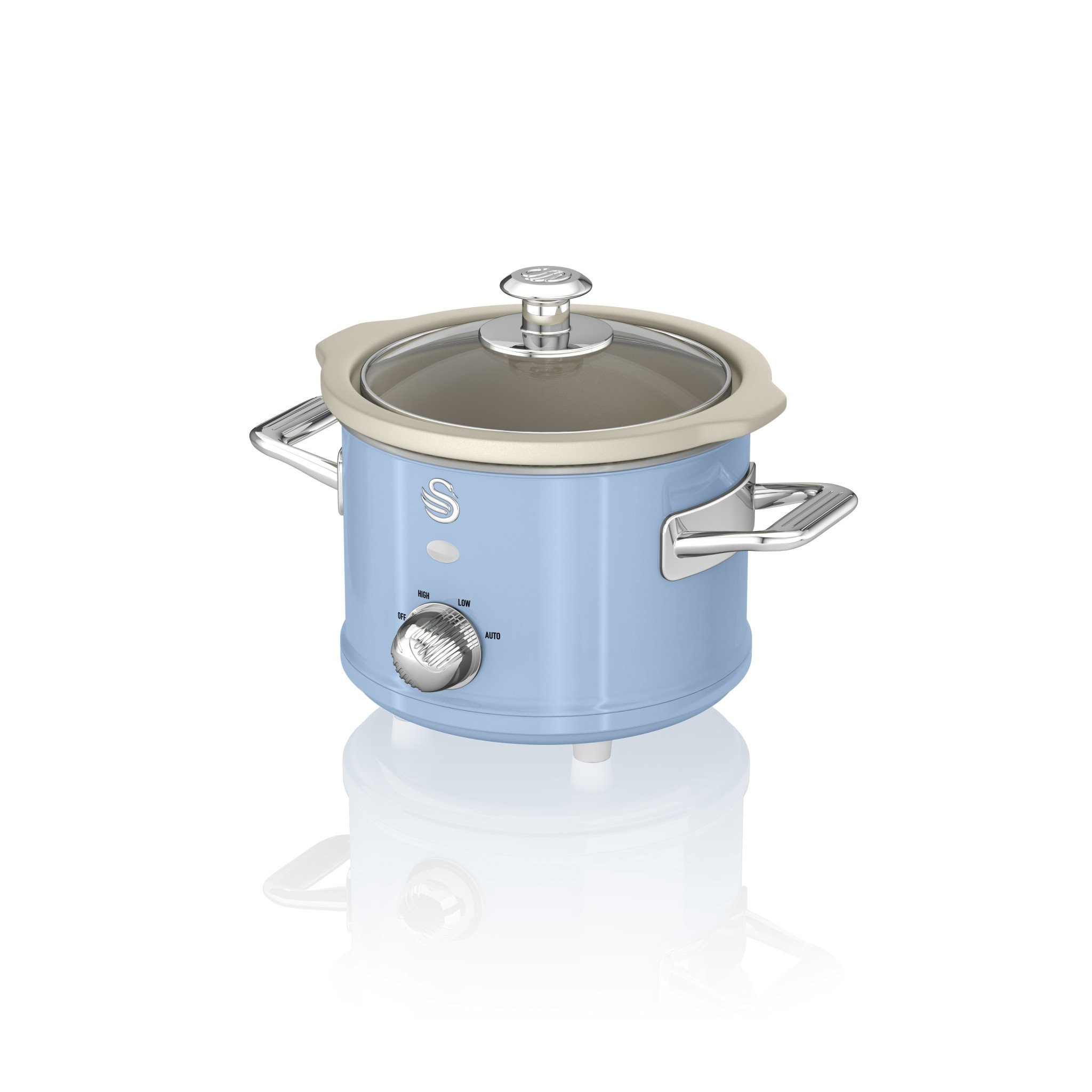 Swan SF17011BLN Retro Olla de cocción lenta 1,5 litros, recipiente extraible con antiadherente cerámica libre PFOA y PTFE, 3 niveles temperatura, tapa vidrio, Slow Cooker con diseño vintage Azul, 120W