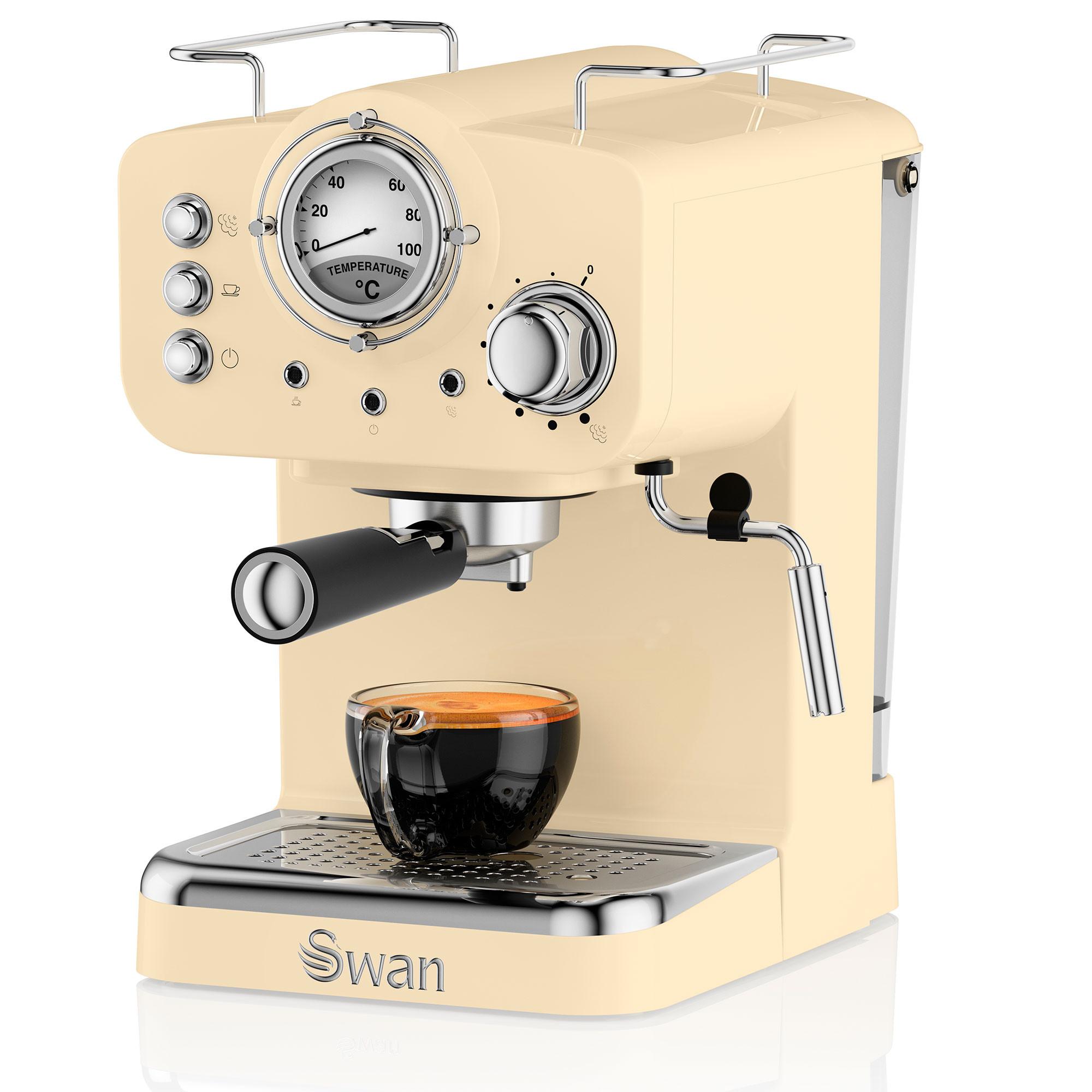Swan SK22110CN Retro Cafetera Express para Espresso y Cappucino, 15 bares presión, Vaporizador, capacidad 1,20 litros, 1 o 2 tazas café molido , diseño vintage Crema, 1100W