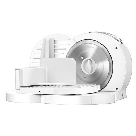 MPM MKR-03 Cortafiambres plegable blanco, grosor de corte ajustable 15mm, disco corte 17 cm