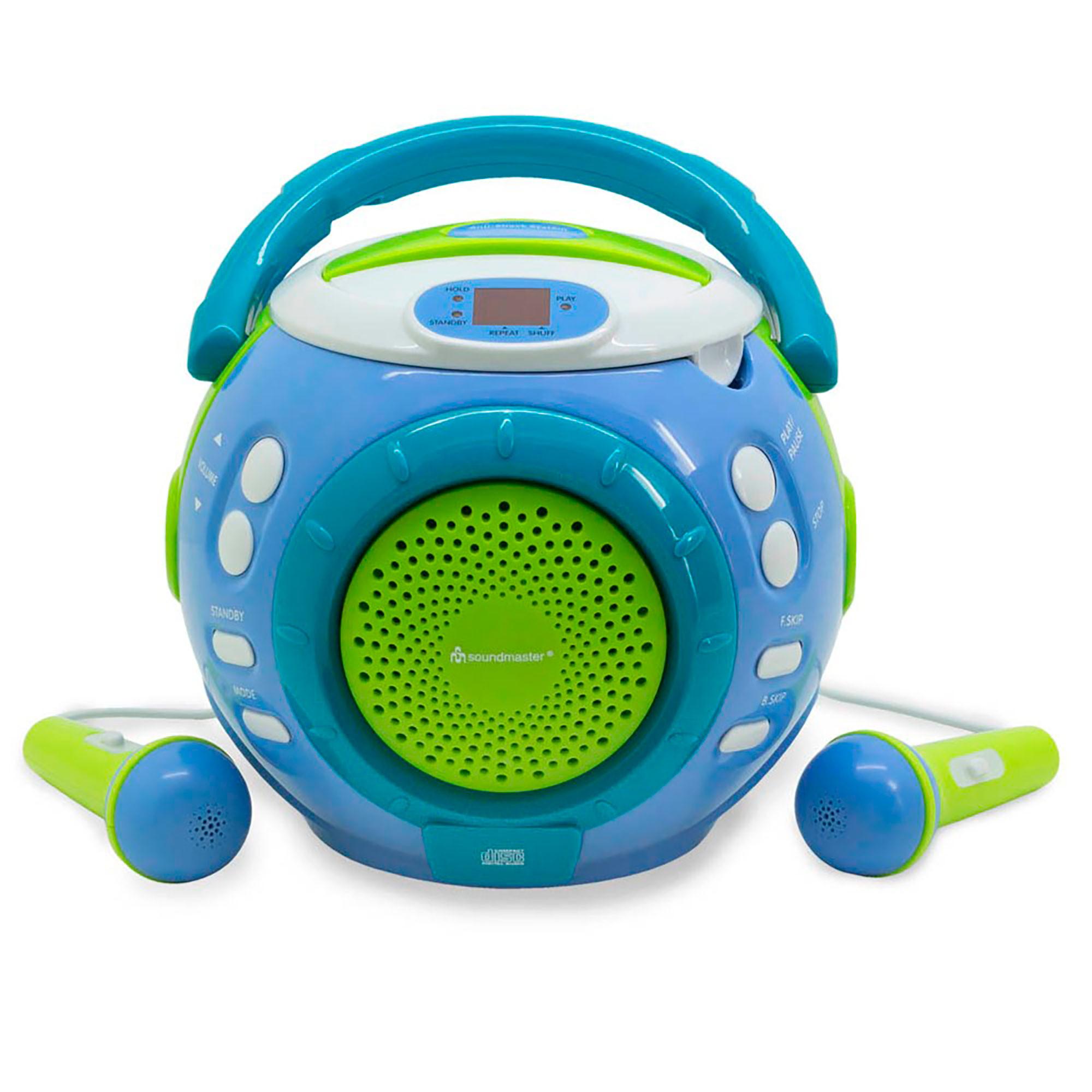 Soundmaster KCD1600BL Radio Infantil Karaoke, Reproductor CD-CDR-CDRW, 2 Micrófonos, Portátil, Azul