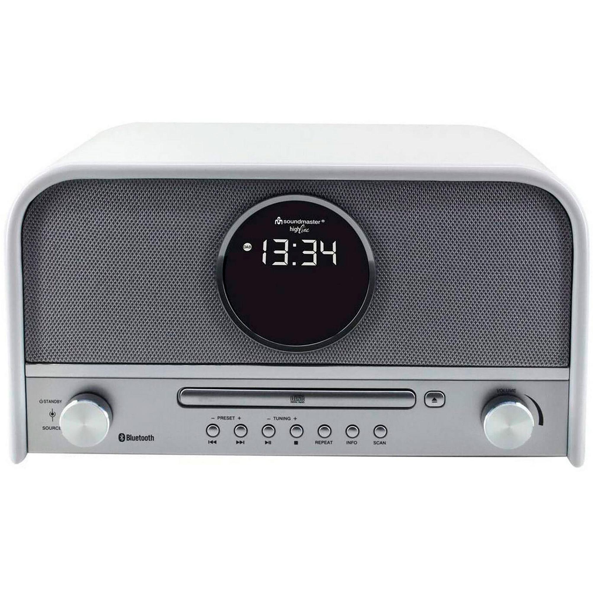 Soundmaster NR850WE Radio DAB+/FM, Reproductor CD/MP3, Bluetooth, Mando a Distancia, Estilo Retro, Blanco