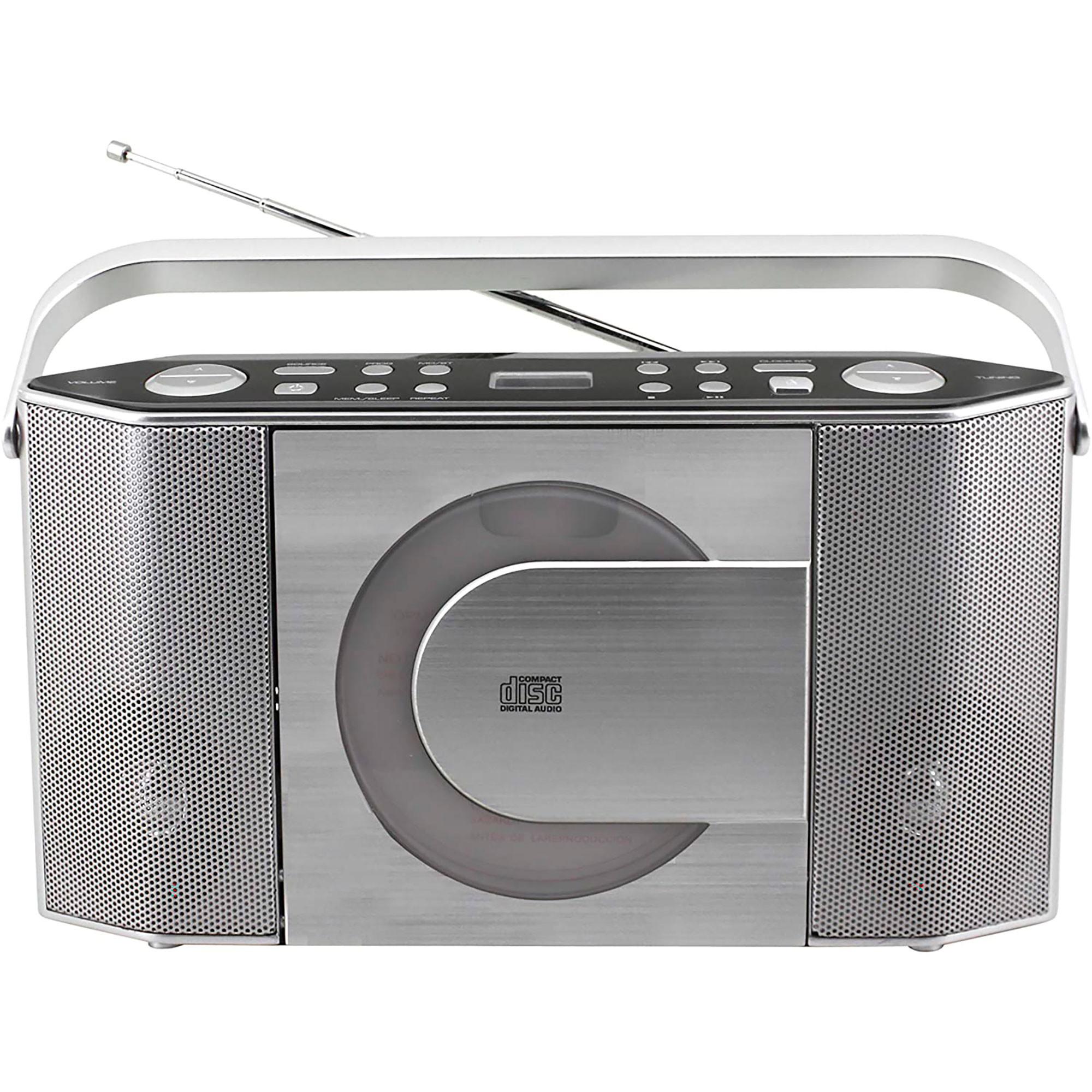 Soundmaster RCD1750SI Radio FM, PLL, Reloj, Digital, Portátil, Reproductor CD, CD-R, CD-RW, MP3, Salida de Auriculares, Color Plata