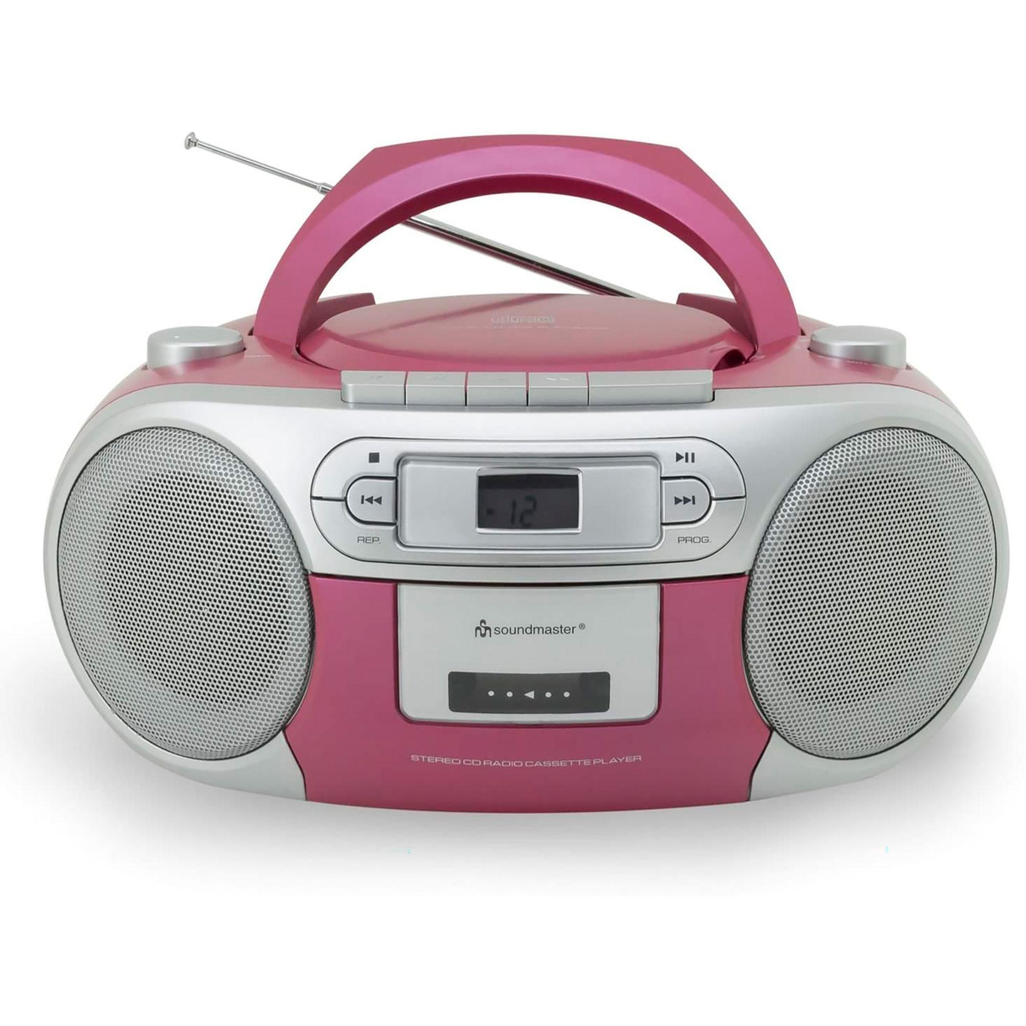 Soundmaster SCD5410PI Boombox Radio AM/FM Analógica, Reproductor CD, Cassette, Portátil, Rosa