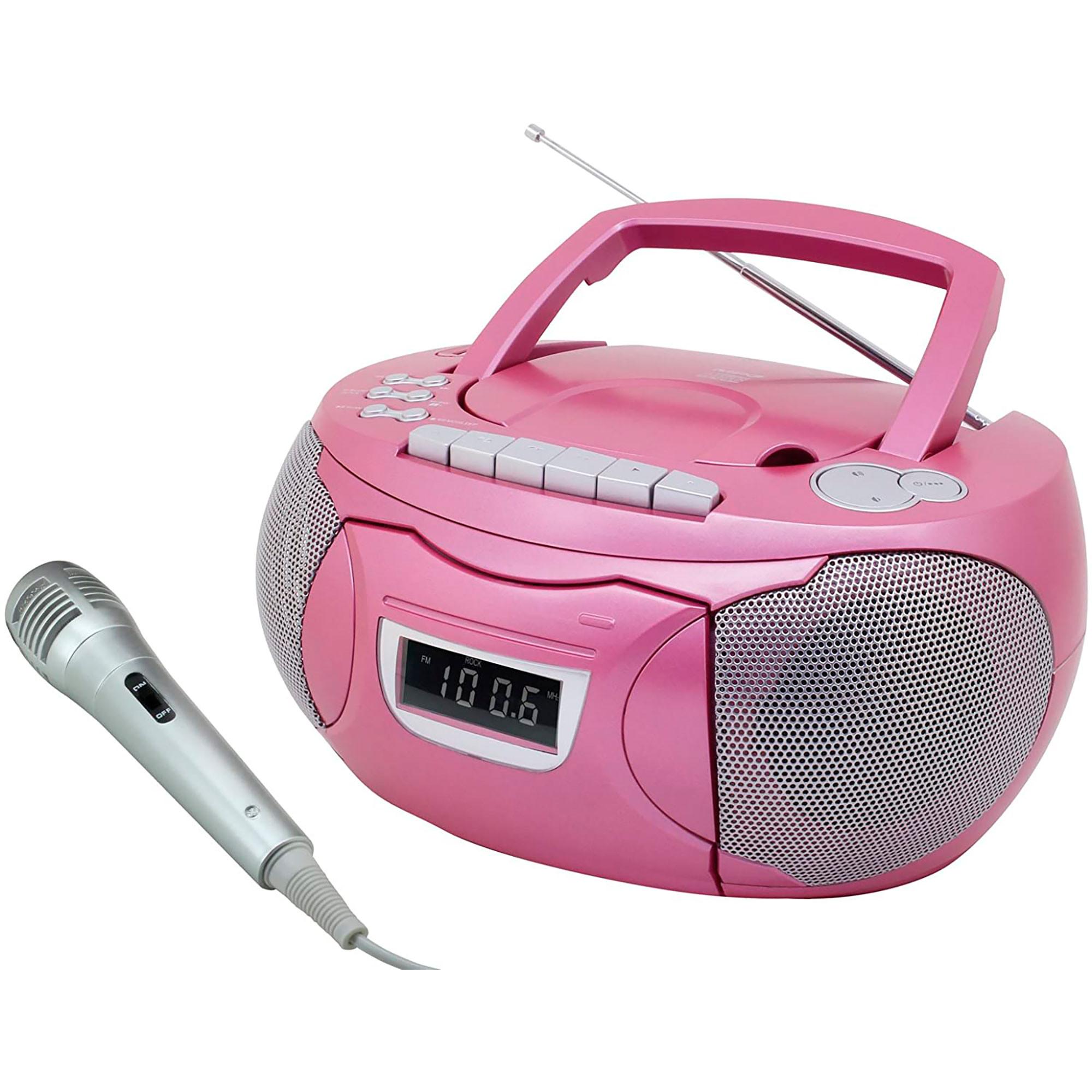 Soundmaster SCD5750PI Radio Karaoke FM, Reproductor CD, Cassette, USB, MP3, Micrófono, Portátil, Rosa