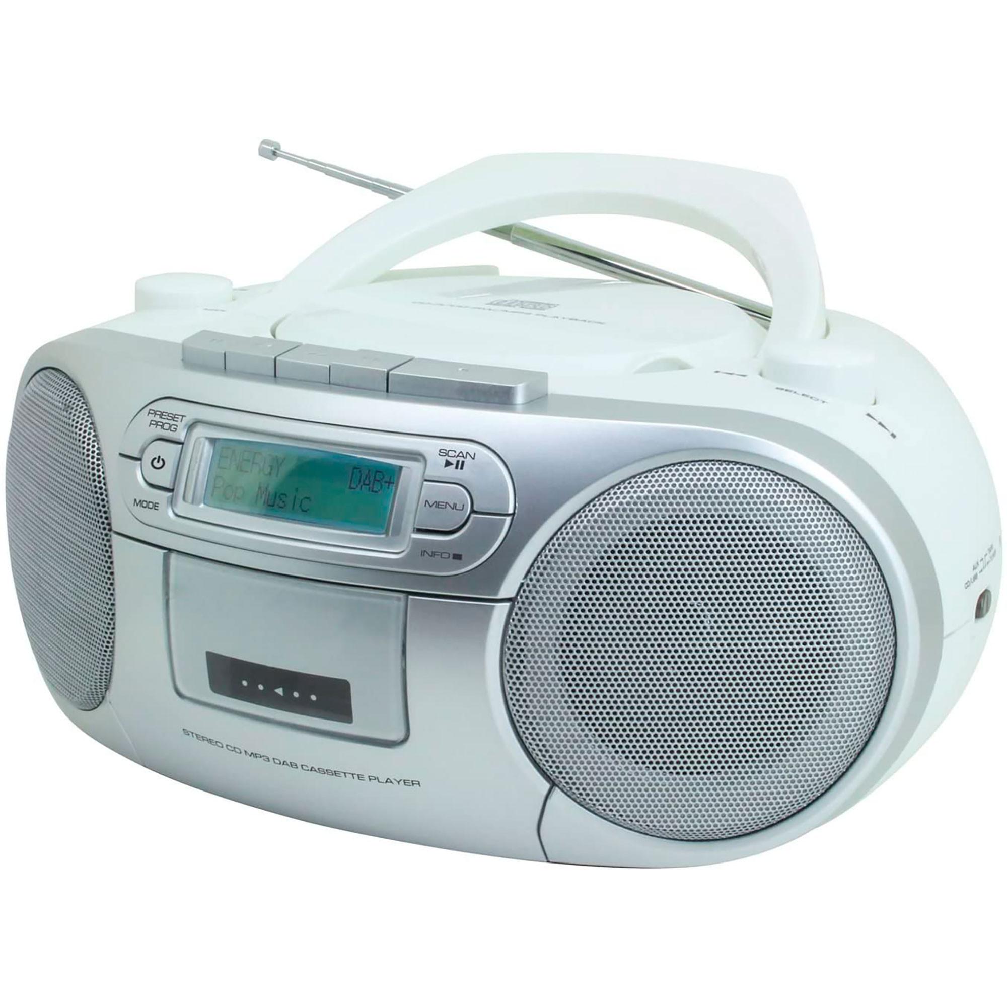 Soundmaster SCD7900WE Radio DAB+/FM, Reproductor de CD, CDR, CDRW y CD-MP3, USB, Cassette,Portátil, Pantalla LCD, PMPO 60W, Blanco