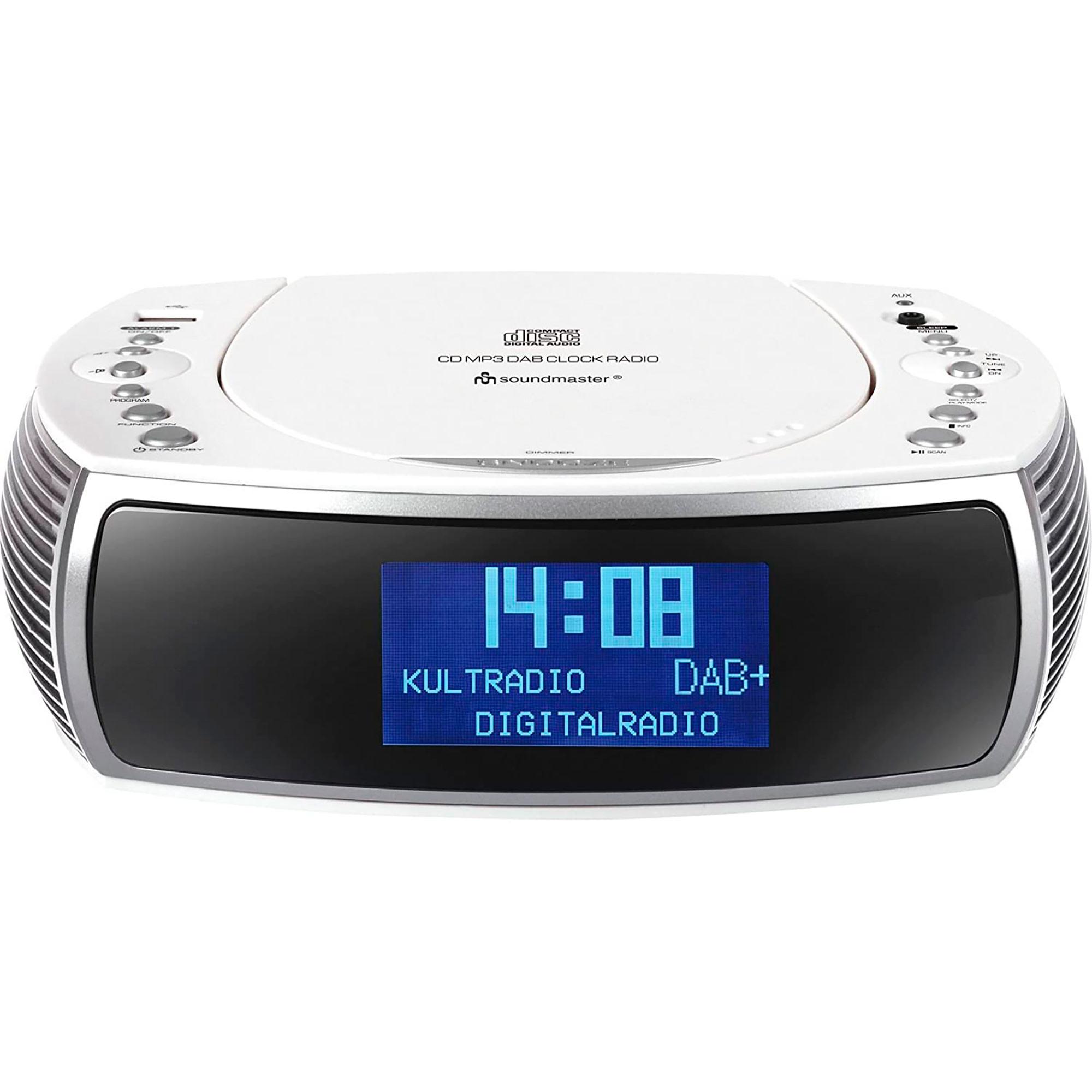 Soundmaster URD470WE Radio Despertador Portátil DAB/DAB +/FM, Reproductor CD-MP3, USB, AUX-IN, Sintonizador Pll, Blanco