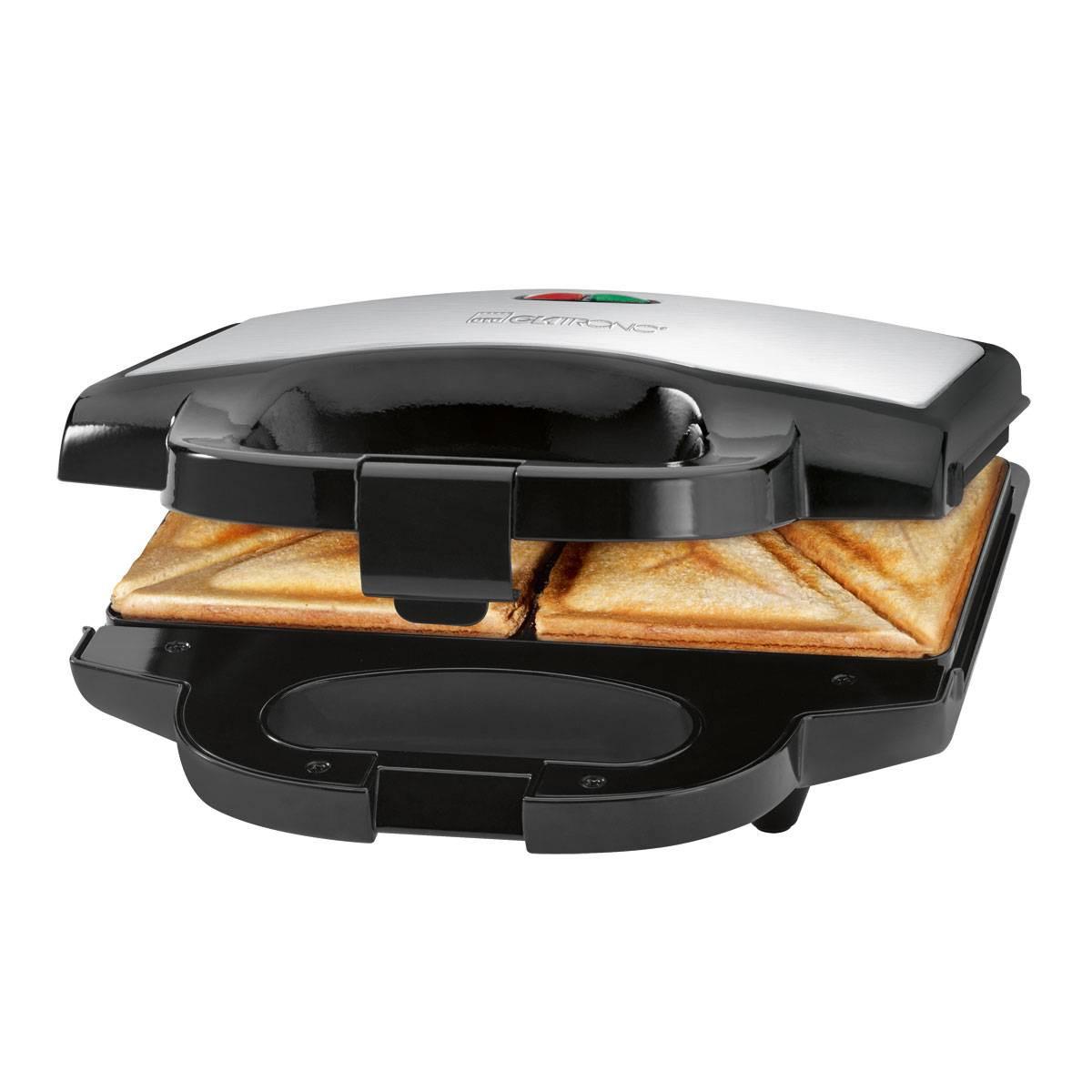 Clatronic Sandwichera ST 3628 Negra / Inox