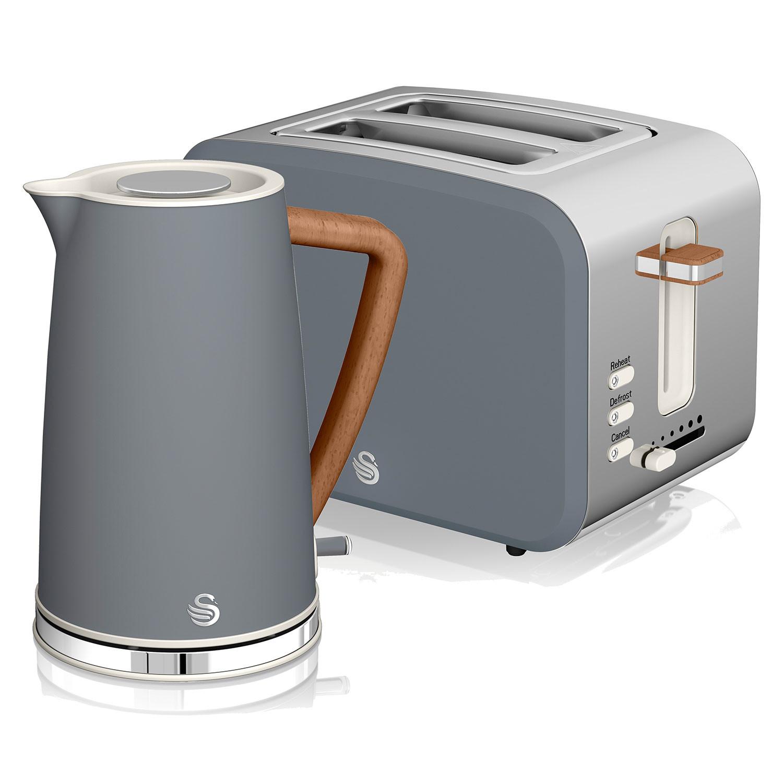 Swan Nordic Set Desayuno Hervidor de agua inalámbrico 1,7L 3000W, Tostadora Pan ranura ancha 2 rebanadas, 3 funciones, diseño moderno, efecto madera, gris