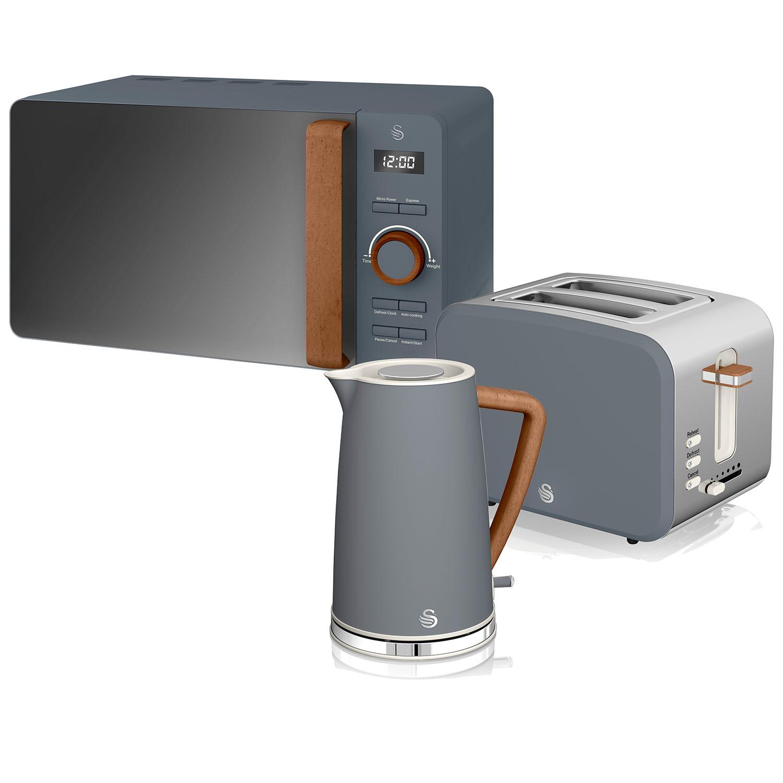 Swan Nordic Set Desayuno Hervidor de agua 1,7L 3000W, Tostadora Pan ranura ancha 2 rebanadas, Microondas 20L digital, diseño moderno, efecto madera, gris