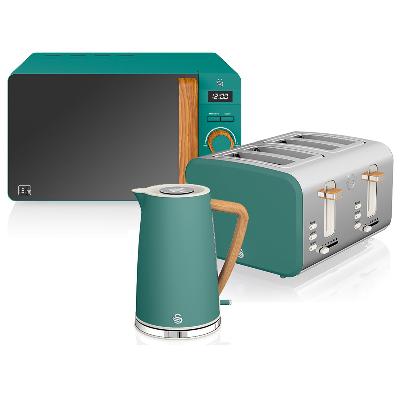 Swan Nordic Set Desayuno Hervidor de agua 1,7L 3000W, Tostadora Pan ranura ancha 4 rebanadas, Microondas 20L digital, diseño moderno, efecto madera, verde