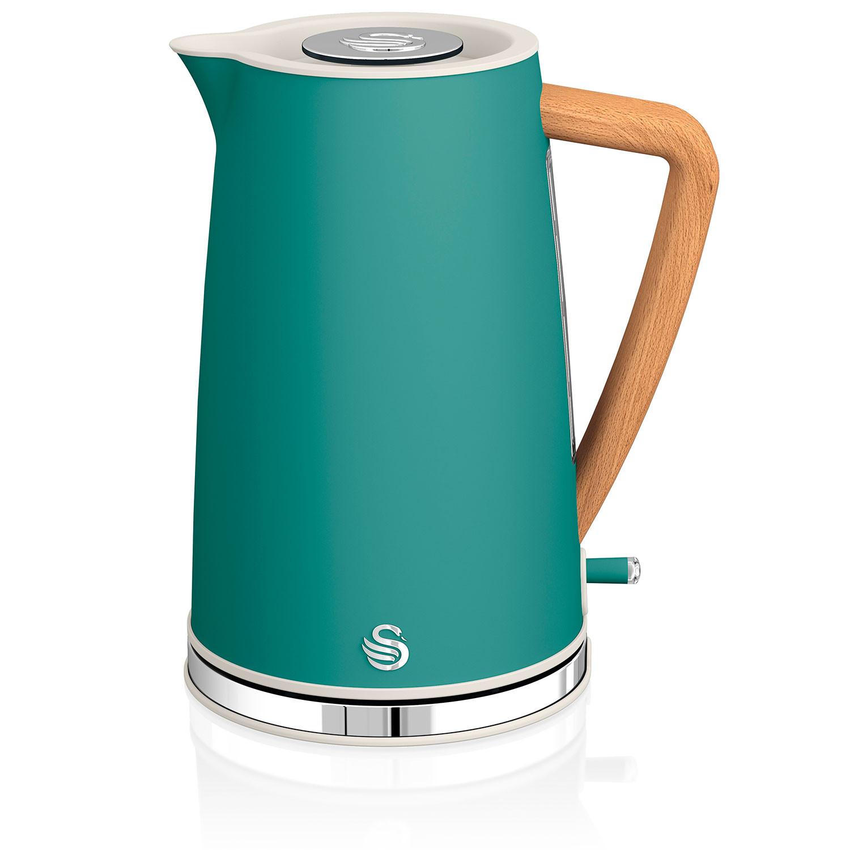 Swan Nordic Hervidor de agua eléctrico ultra rápido, inalámbrico sin cable, diseño moderno, 1,7 l, 3000 W, asa efecto madera, apagado automático, verde