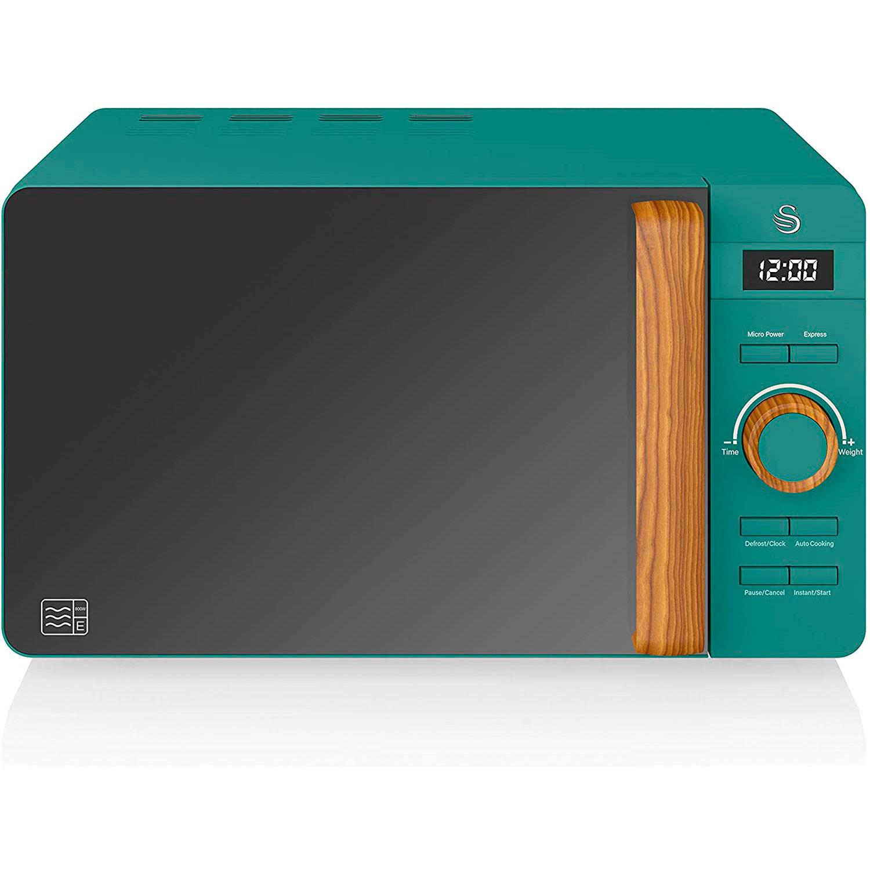 SWAN Nordic Microondas digital 20L, 6 niveles funcionamiento, 800W potencia, temporizador 30 min, fácil limpieza, modo desongelar, diseño moderno, tirador efecto madera, verde mate