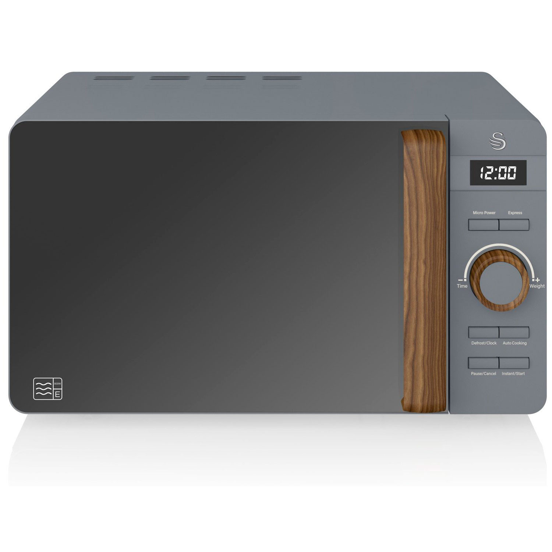 SWAN Nordic Microondas digital 20L, 6 niveles funcionamiento, 800W potencia, temporizador 30 min, fácil limpieza, modo desongelar, diseño moderno, tirador efecto madera, gris mate