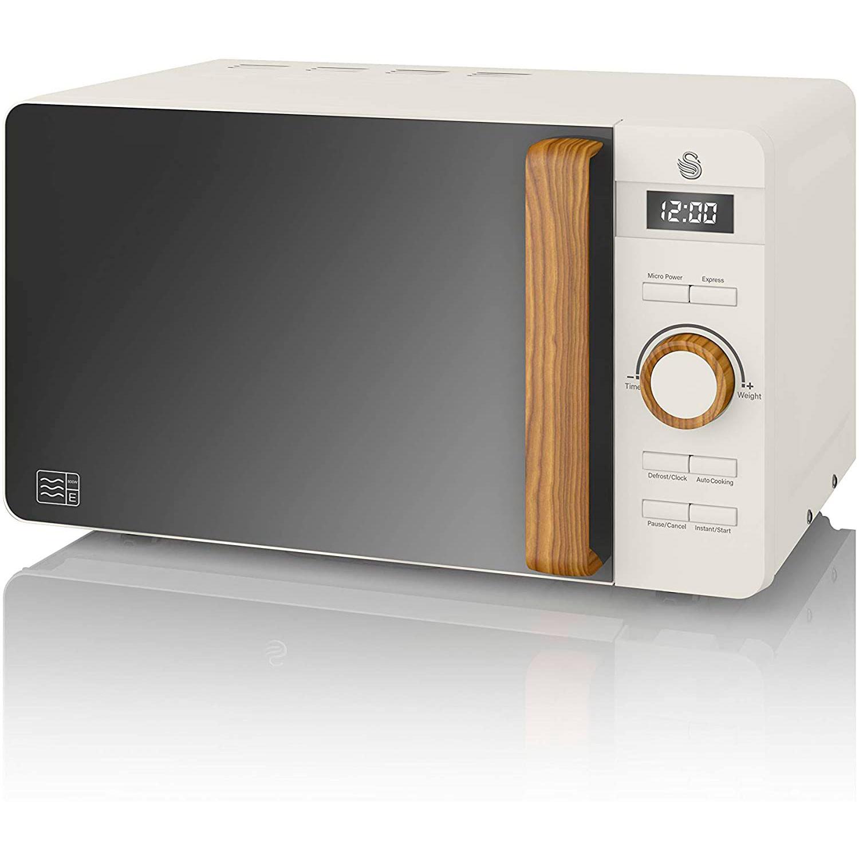 SWAN Nordic Microondas digital 20L, 6 niveles funcionamiento, 800W potencia, temporizador 30 min, fácil limpieza, modo desongelar, diseño moderno, tirador efecto madera, blanco mate