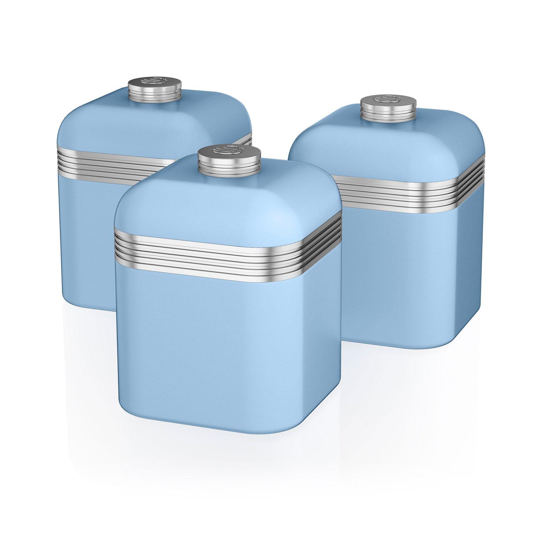 Swan SWKA1020BLN Set 3 Botes metálicos de almacenamiento 1 litro, especias, té ,café, vintage diseño retro Azul