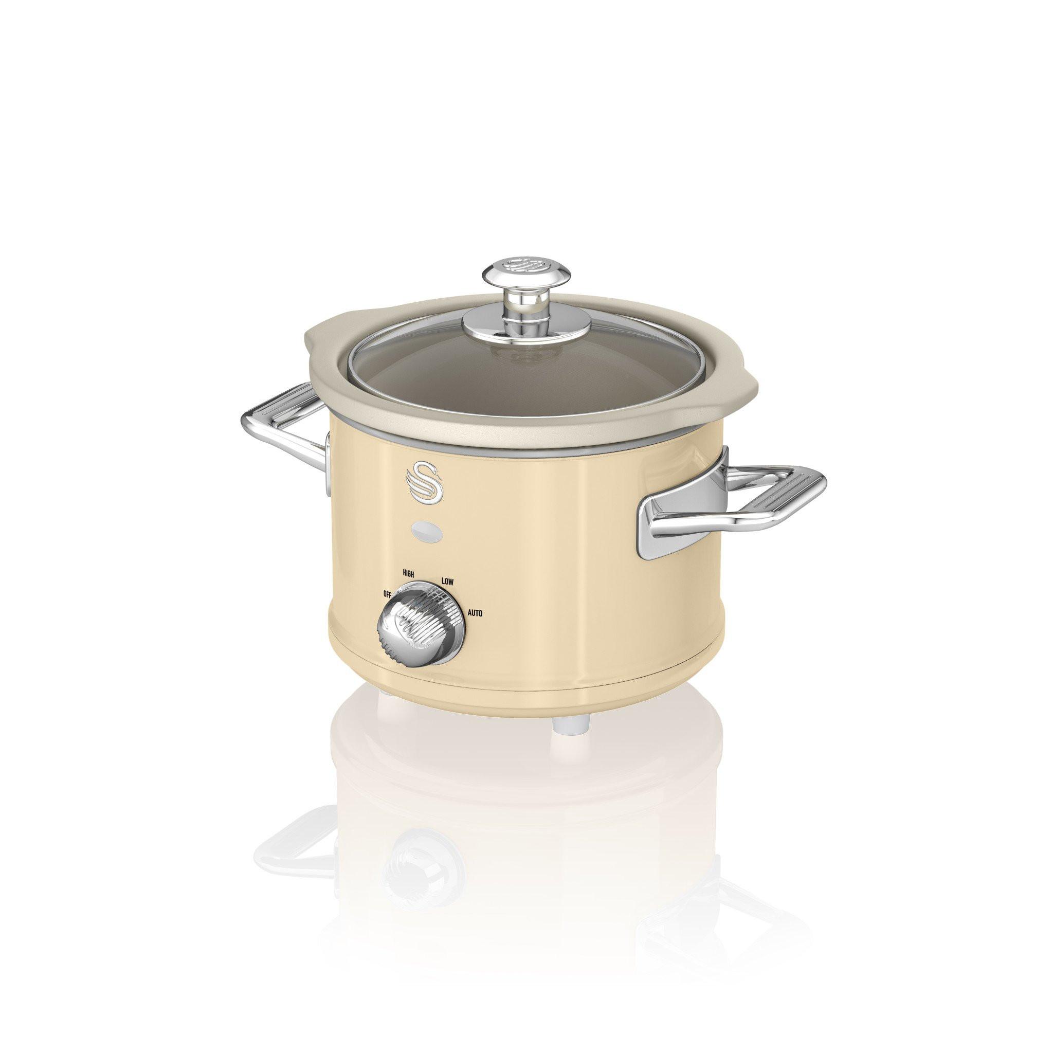 Swan SF17011CN Retro Olla de cocción lenta 1,5 litros, recipiente extraible con antiadherente cerámica libre PFOA y PTFE, 3 niveles temperatura, tapa vidrio, Slow Cooker con diseño vintage Crema, 120W