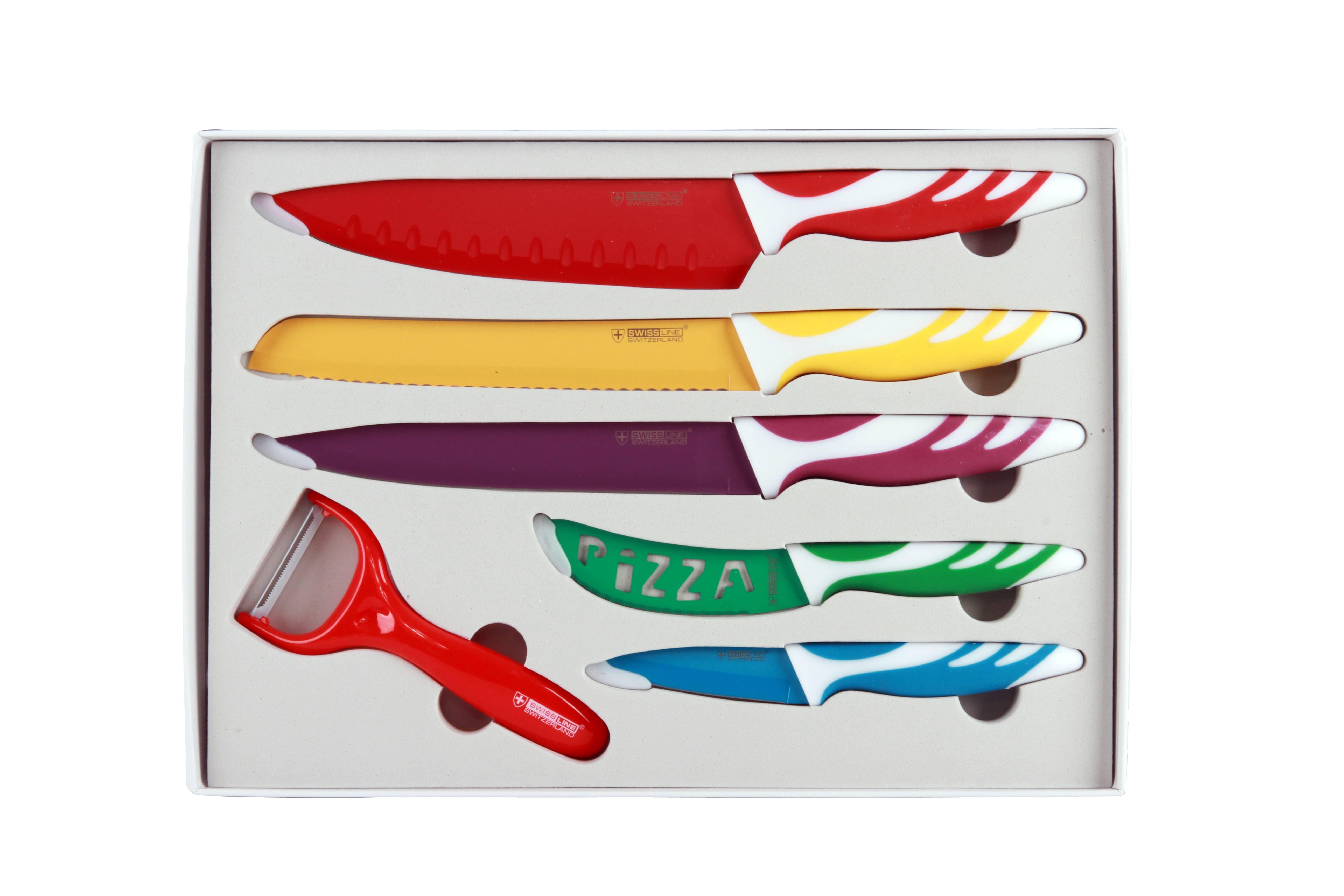 swissline juego de 5 cuchillos suizos de acero inoxidable