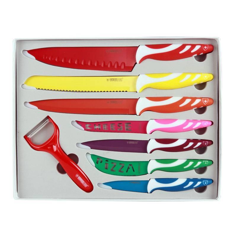 SwissLine Juego de 7 cuchillos Suizos de acero inoxidable con baño cerámico + pelador de regalo