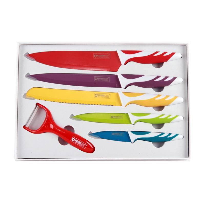 SwissLine Juego de 5 cuchillos Suizos de acero inoxidable con baño cerámico + pelador