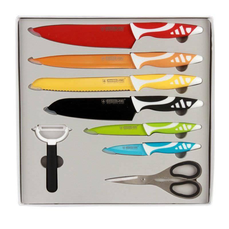 SwissLine Juego de 6 cuchillos Suizos de acero inoxidable con baño cerámico + pelador + tijeras de regalo