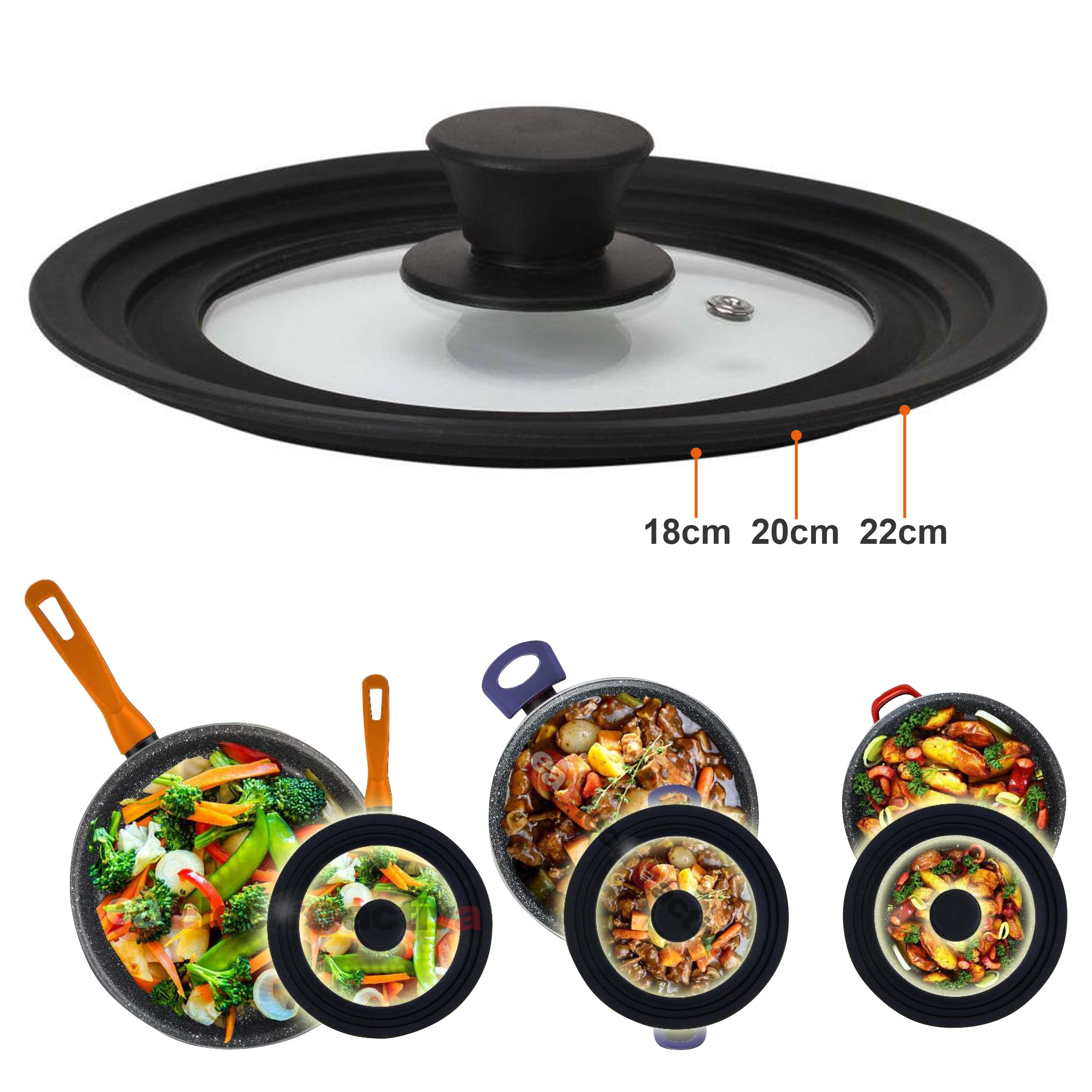 Magefesa - Tapa de sartén, ollas, cacerolas multidiámetro universal adaptable con borde de silicona y cristal con válvula de vapor para diámetro de 18-20-22