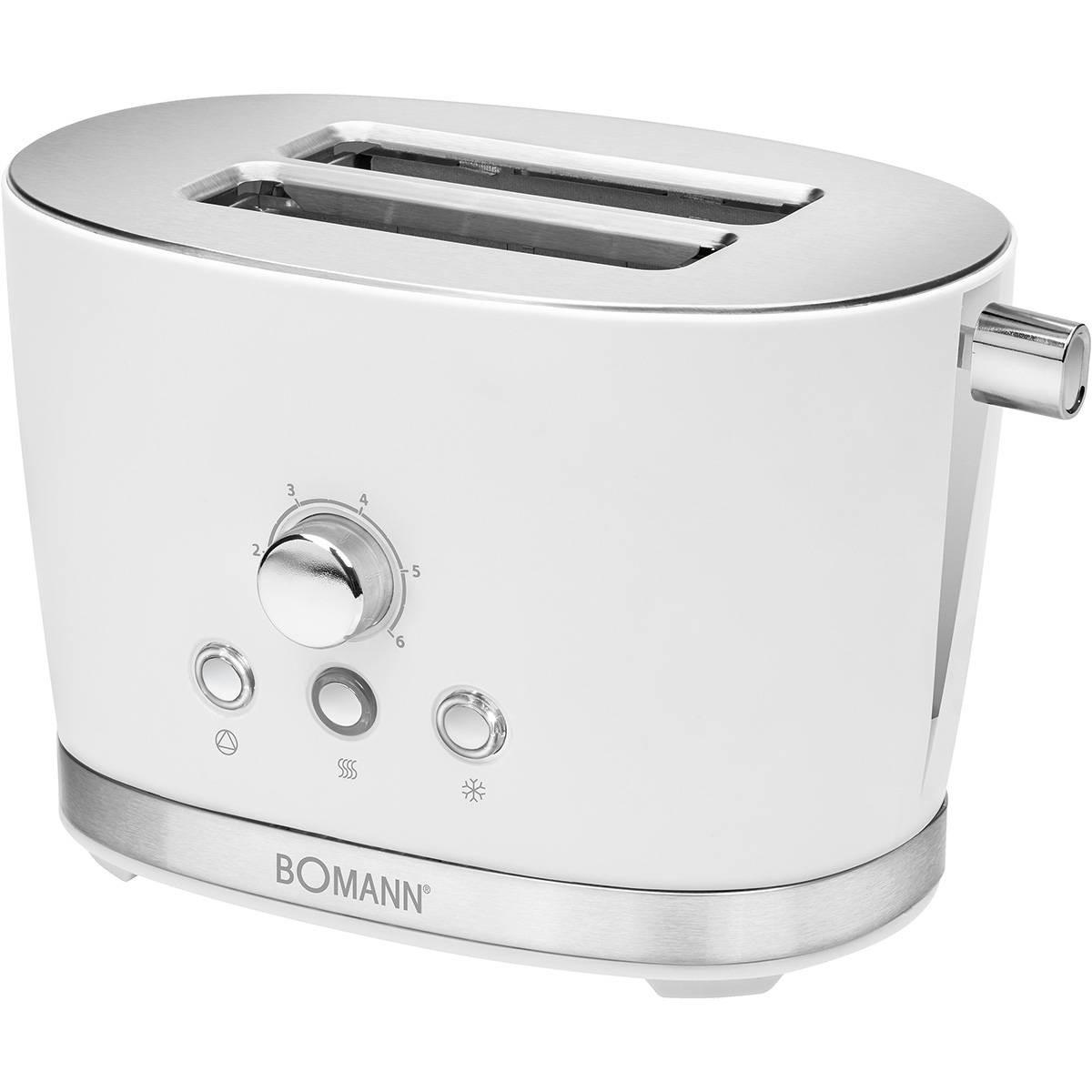 Bomann TA 3005 - Tostadora 2 rebanadas, 3 funciones, calienta panecillos, 850W, diseño retro blanco
