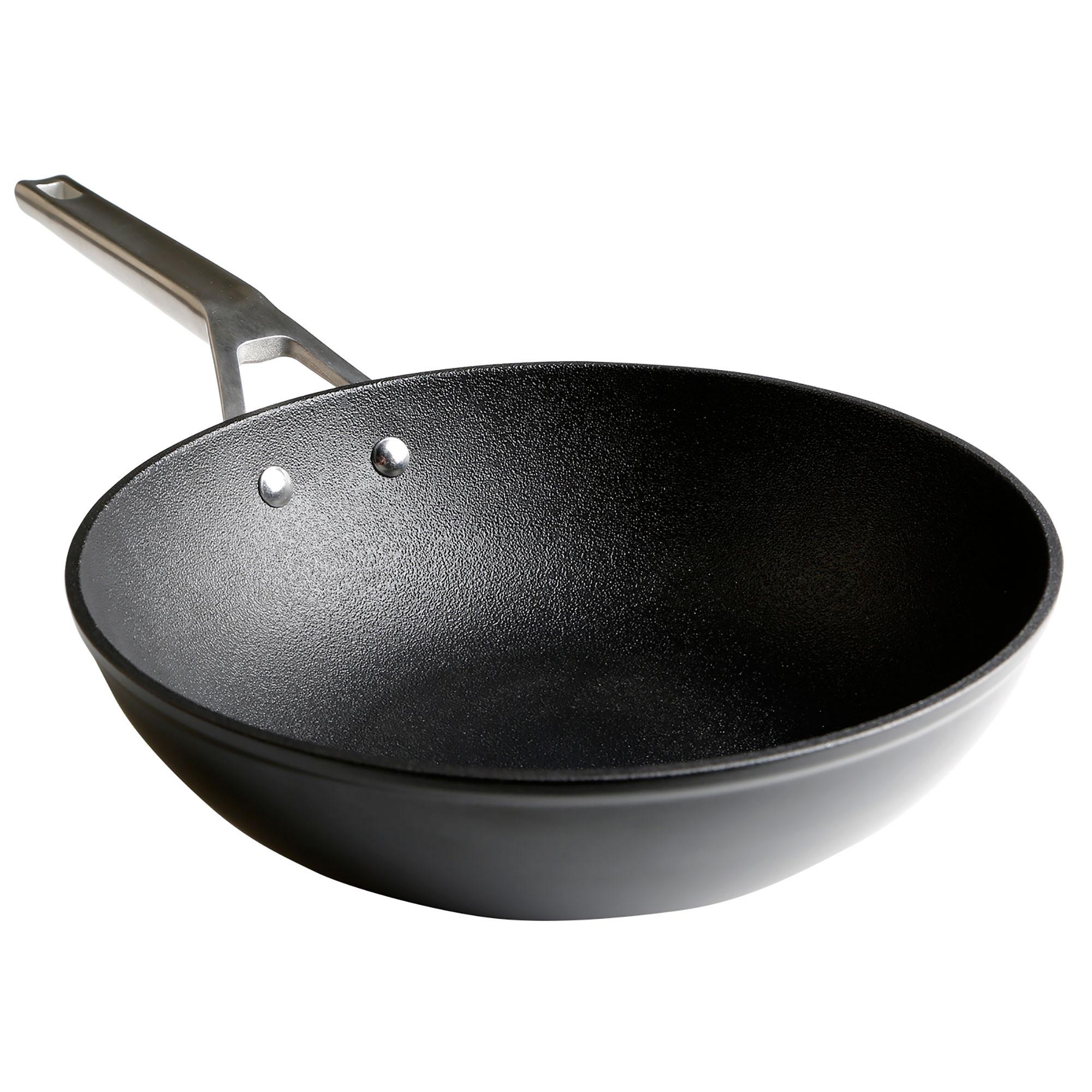 Wecook Ecosteel Wok inducción 28 cm, aluminio forjado, 3 Capas Antiadherente Titanio sin PFOA, 4,2mm espesor, mango acero inox, Apta todas las cocinas, vitroceramica, gas, honro