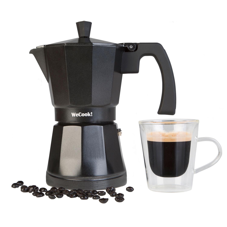 Wecook Luccia Cafetera Italiana inducción de aluminio express, 9 tazas café, apta para todas las cocinas, color negro, junta de cierre de silicona,