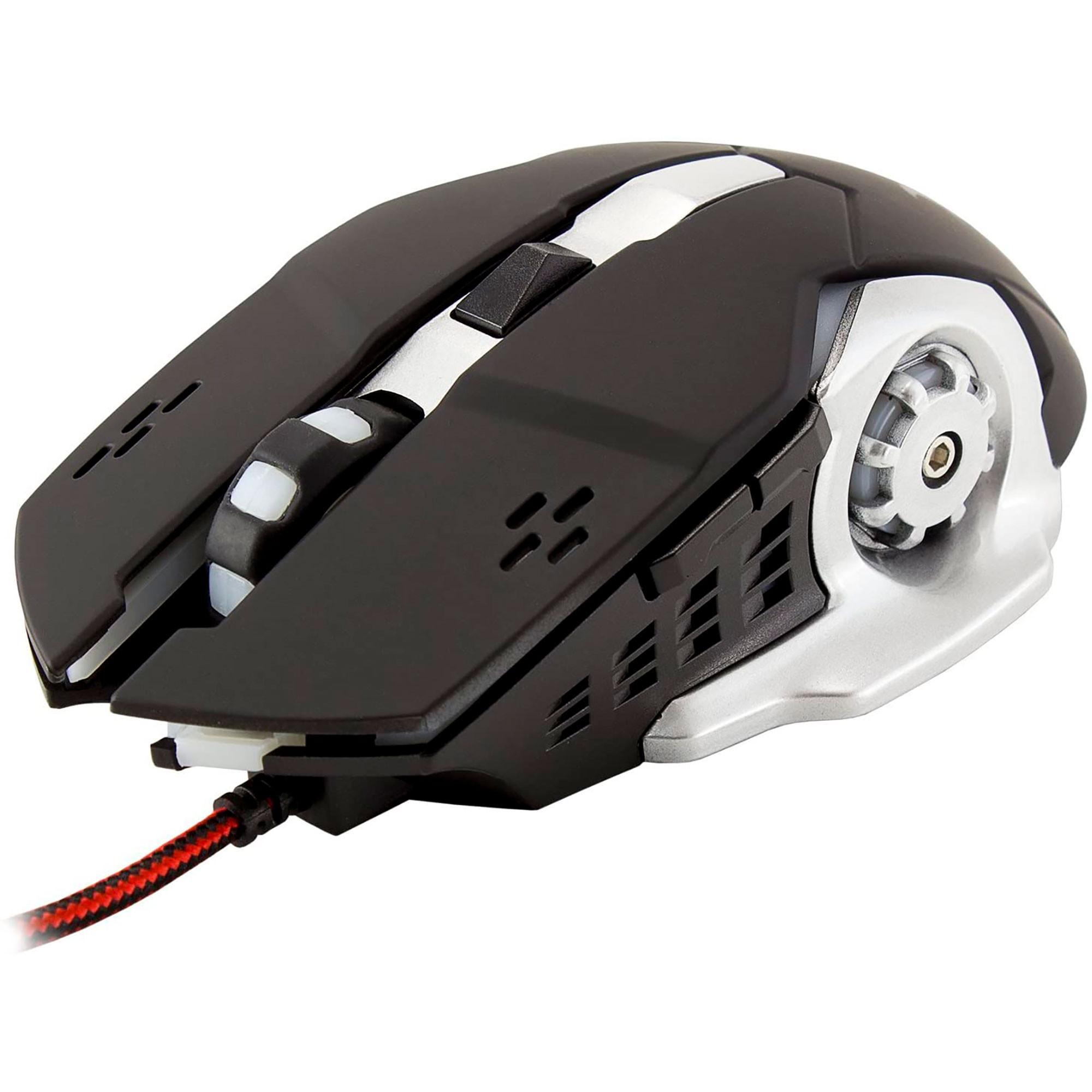 White Shark Leonidas,Ratón Gaming con Cable para PC, Óptico, 3200 dpi, 6 Botones Programables, Retroiluminación, Windows7/8/10/Xp/Vista