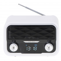 Adler AD1185 Radio Bluetooth, Sintonizador FM, Memoria 50 Emisoras, Reproducción MP3, Puerto USB y Tarjeta SD, Inalámbrica, Estilo Moderno, Portátil, Pantalla LCD, Blanco ?>