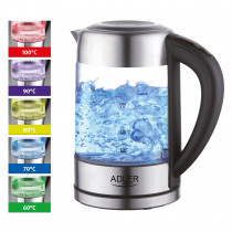 ADLER AD-1247 Hervidor de agua eléctrico cristal 1,7 litros, Regulador de Temperatura de 60 a 100 °C, resistencia oculta, 2200 W, apagado automático, inalámbrico 360º sin cable ?>