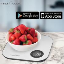 Proficook KW 1158 - Báscula de Cocina digital con Bluetooth, aplicación para control de calorias, dietas y valores nutricionales, compatible con iOS o Android ?>