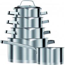 Smile MGK11 - Batería de Cocina Inducción 10 piezas Acero Inoxidable 5 ollas, 1 cazo, 5 tapas cristal, apta para todo tipo de cocinas ?>