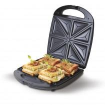 CAMRY CR-3023 Sandwichera eléctrica XL para 4 sandwiches, placas antiadherentes en forma de triángulo, Negra, 1500W ?>