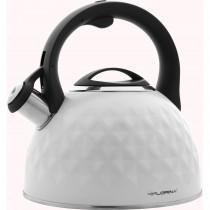 Florina Diamond Tetera con Silbato 2,5 L, Diseño Moderno, Hervidor de Agua Acero Inoxidable, Inducción, Vitrocerámica, Todo Tipo de Cocinas, Blanco ?>